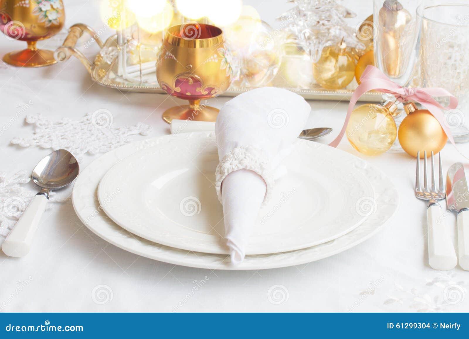 Christmas Tableware Set Stock Photo Image Of Cutlery 61299304