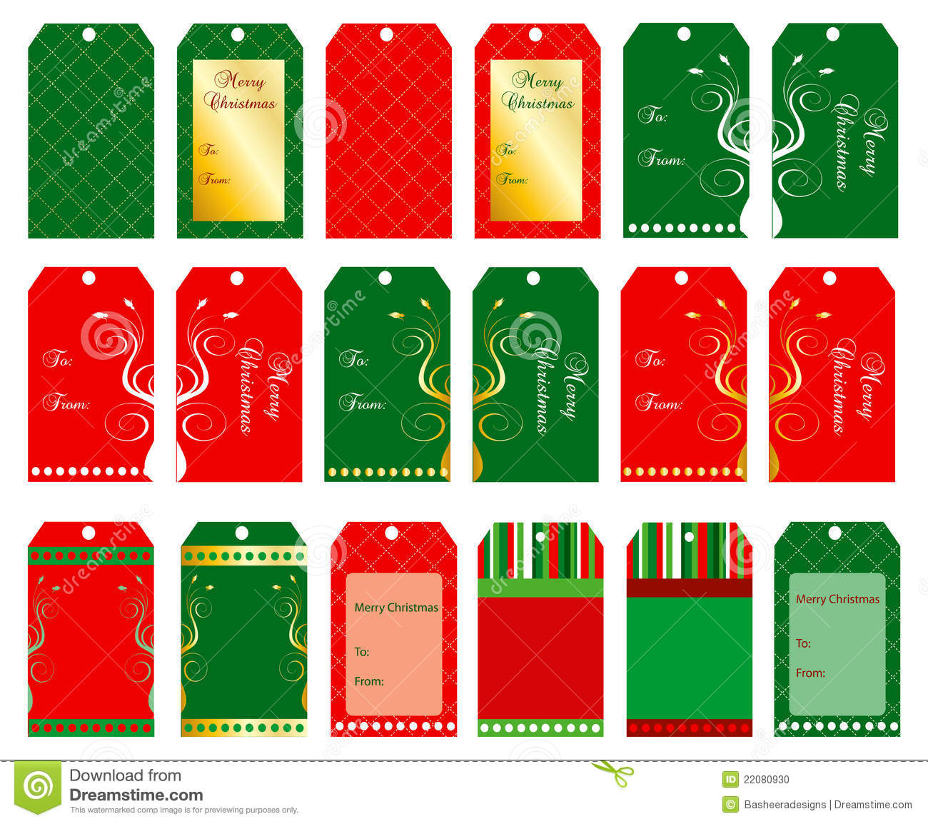 Vector Illustration of 18 Christmas tags or cards.