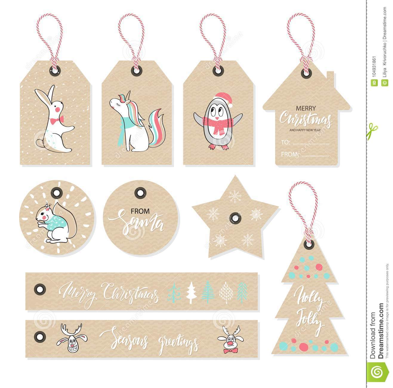 Christmas tags set with cute animals, hand drawn style. Vector illustration.