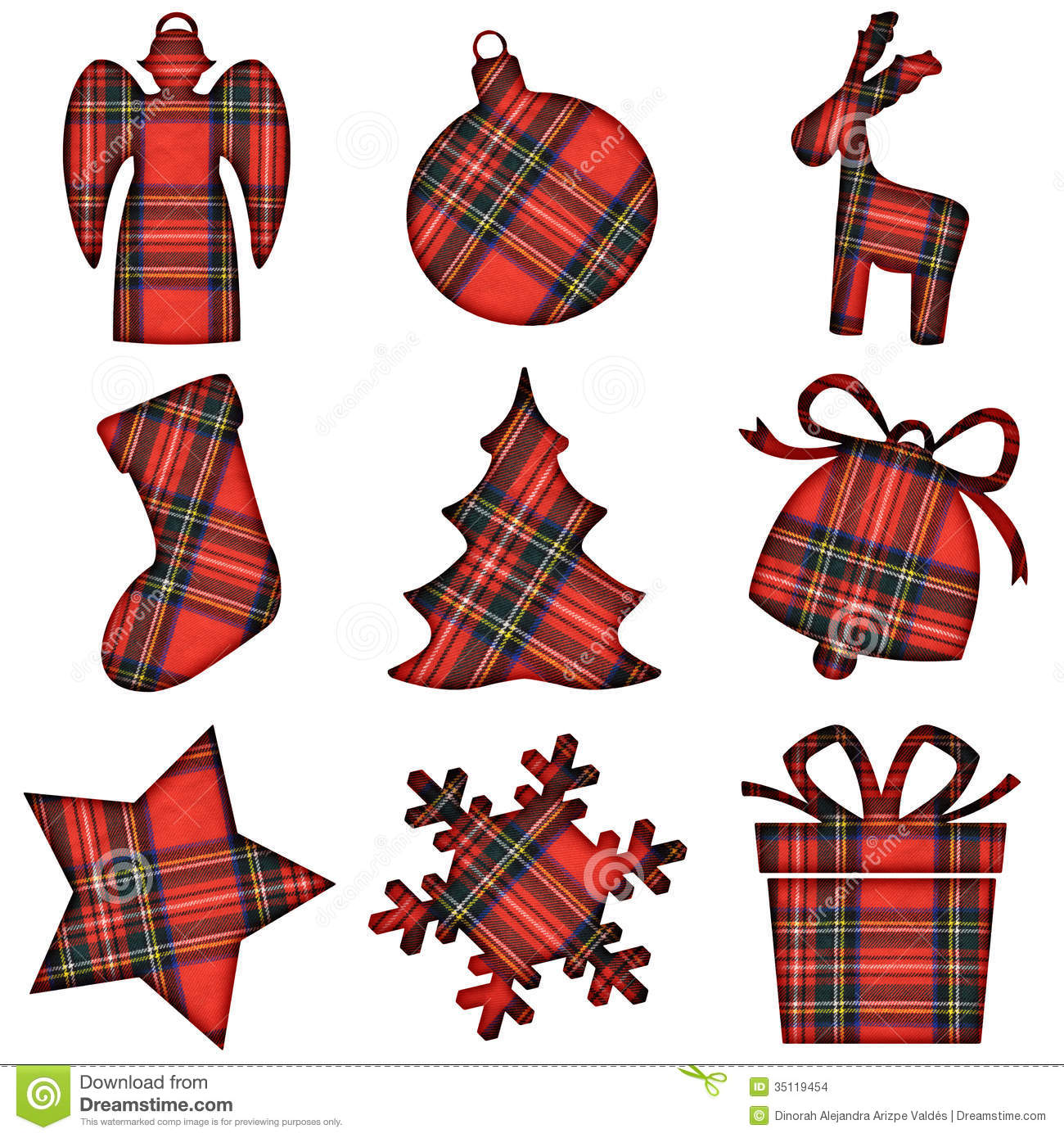 Christmas Tartan Icons Stock Photo Image Of Scotland