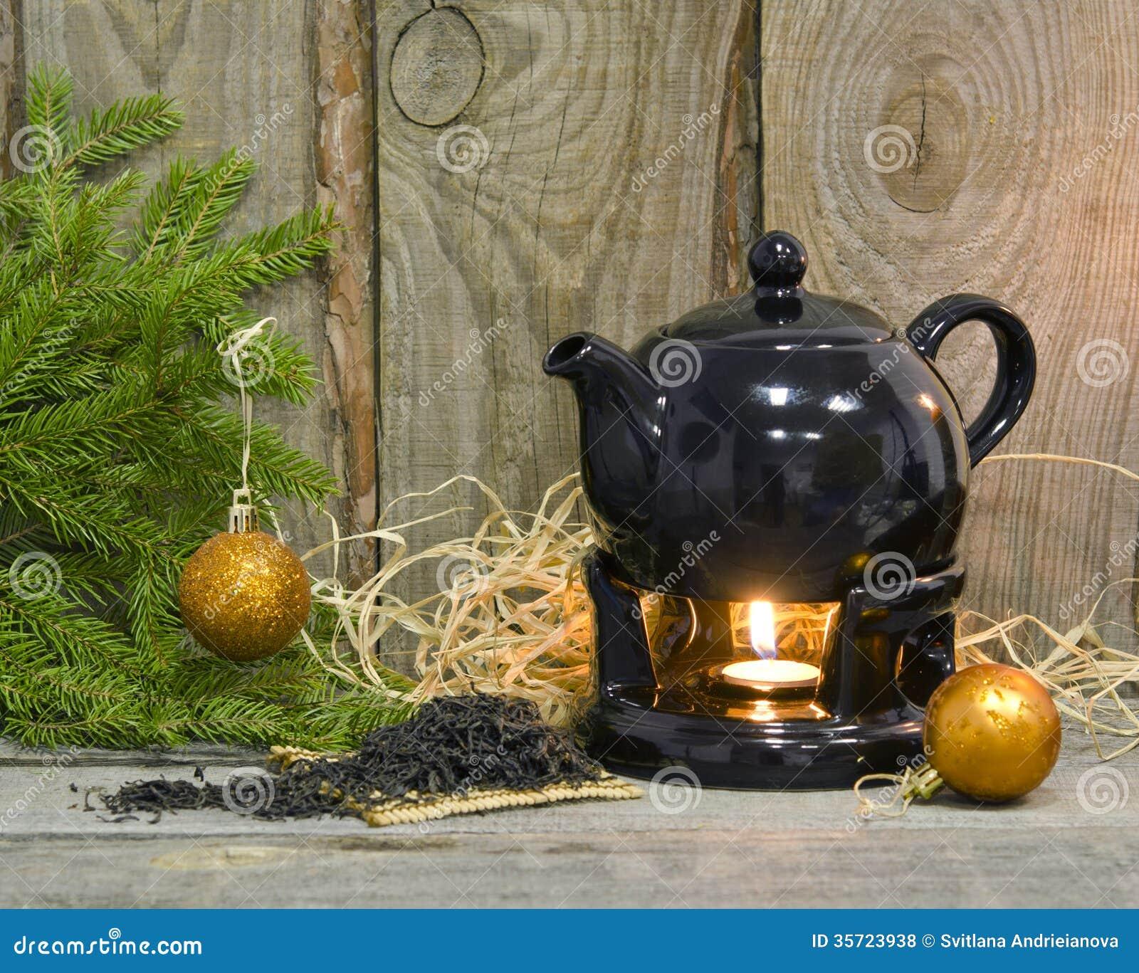Christmas tea party stock photo image of wood cozy