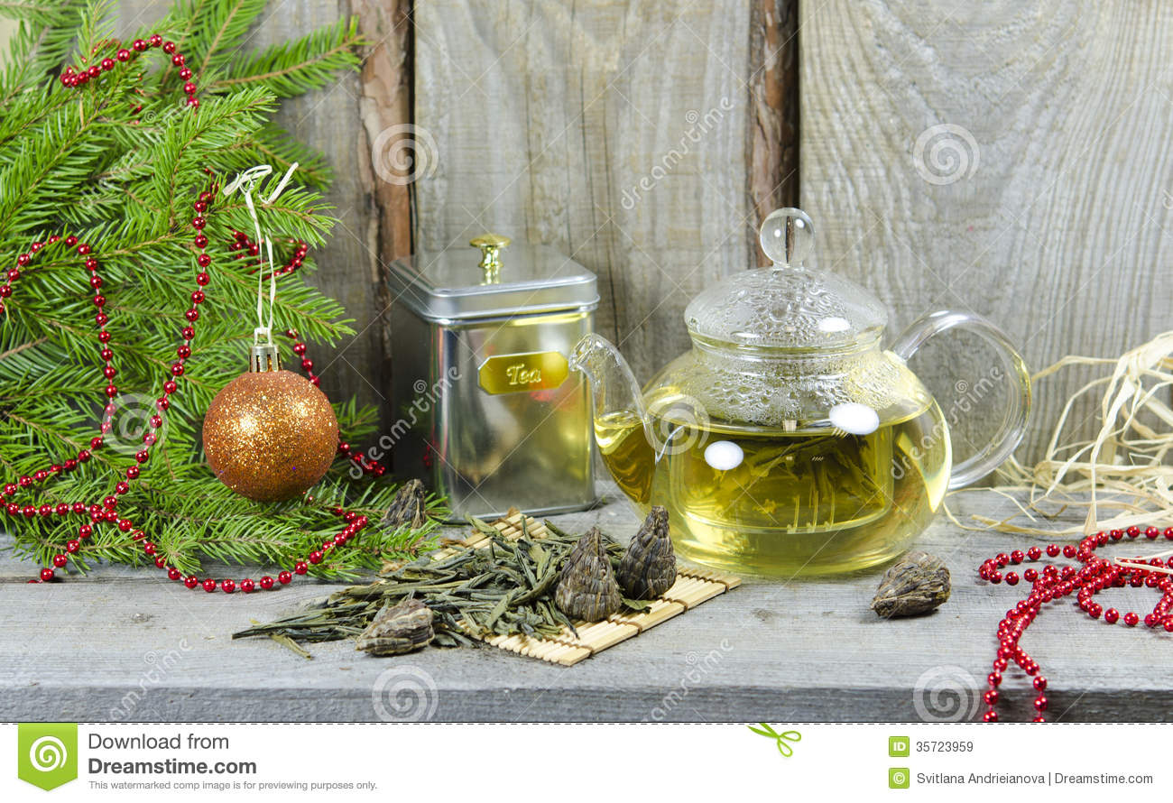 Christmas tea party stock image of card year