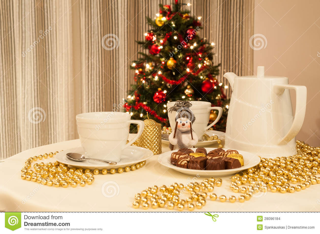 Christmas Tea Time Stock Photo Image Of Indoor Cups