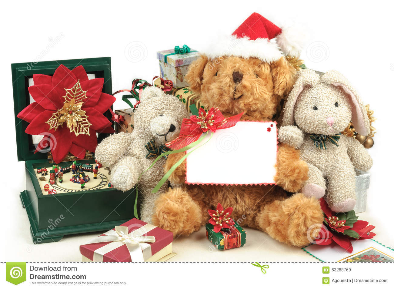 Christmas Teddy Bear With Gifts And Friends Stock Image - Image of ...