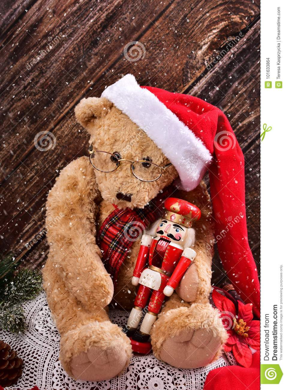 Christmas Teddy Bear With Vintage Nutcracker Stock Photo Image Of Holiday Colorful 101633864