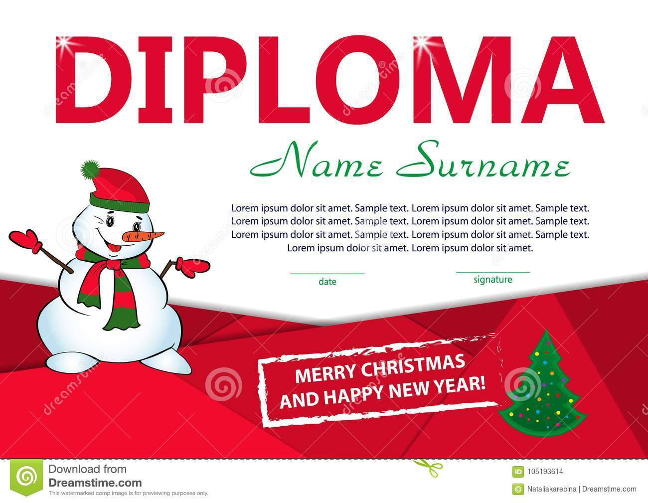Christmas Template Diploma Or Certificate. New Year Reward Stock ...