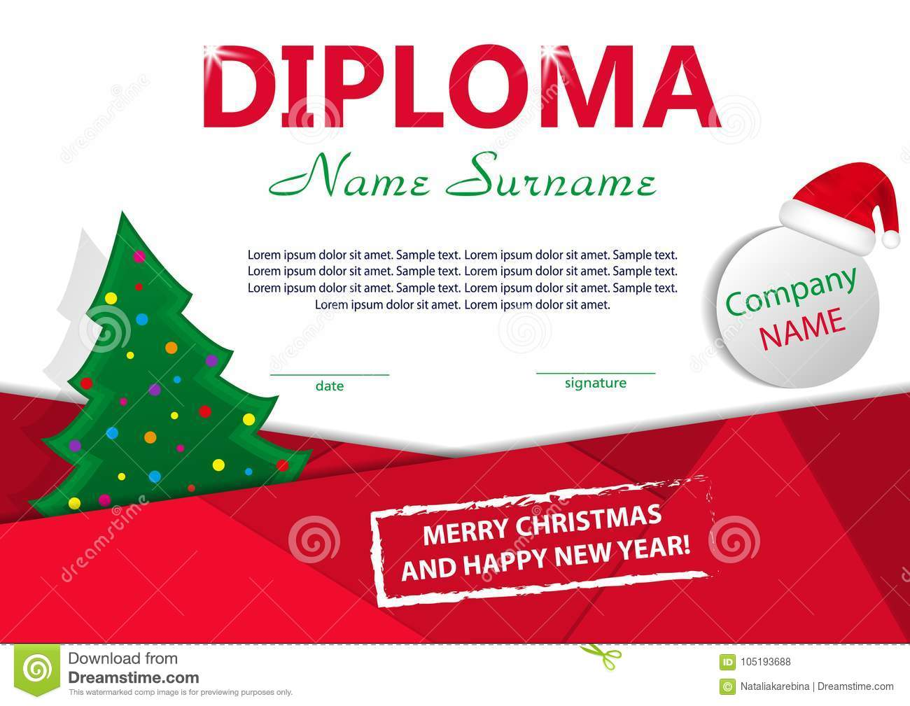 Christmas Template Diploma Or Certificate. New Year Reward With ...