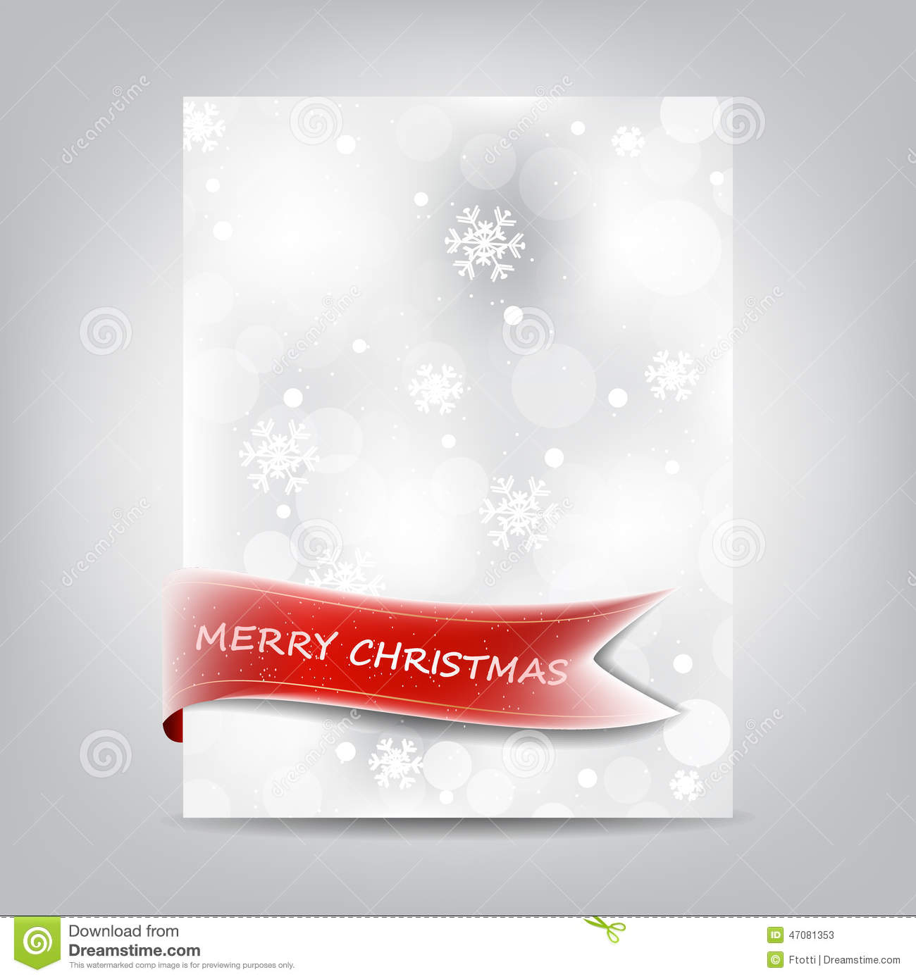 christmas template  paper banner with red ribbon and