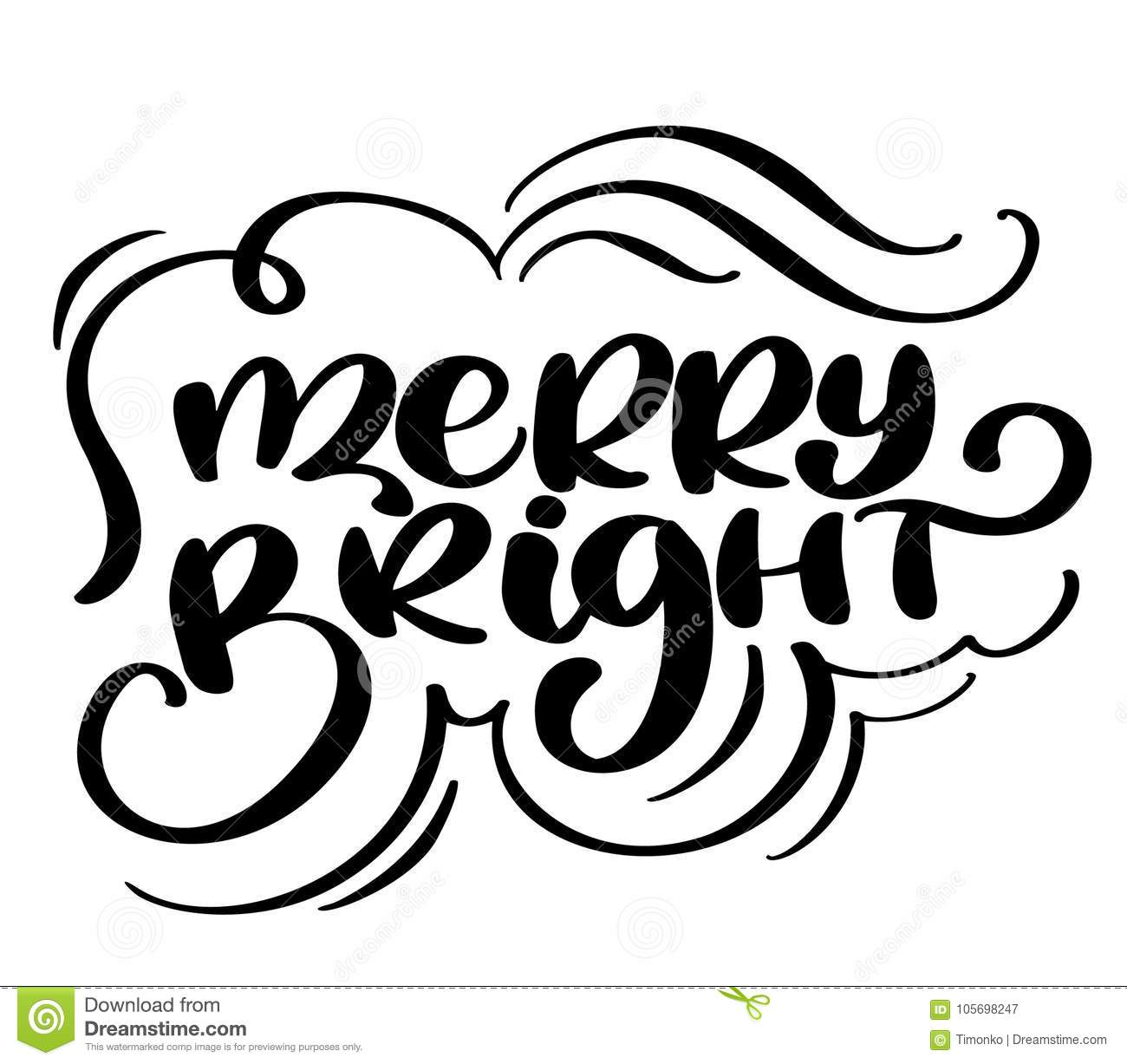 Text Decoration Italic: Christmas Text Merry And Bright Hand Written Calligraphy