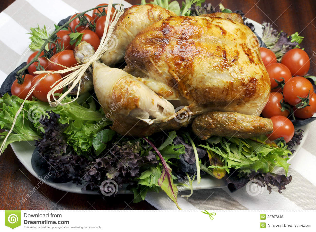 Christmas Or Thanksgiving Roast Chicken Turkey Dinner Royalty Free ...
