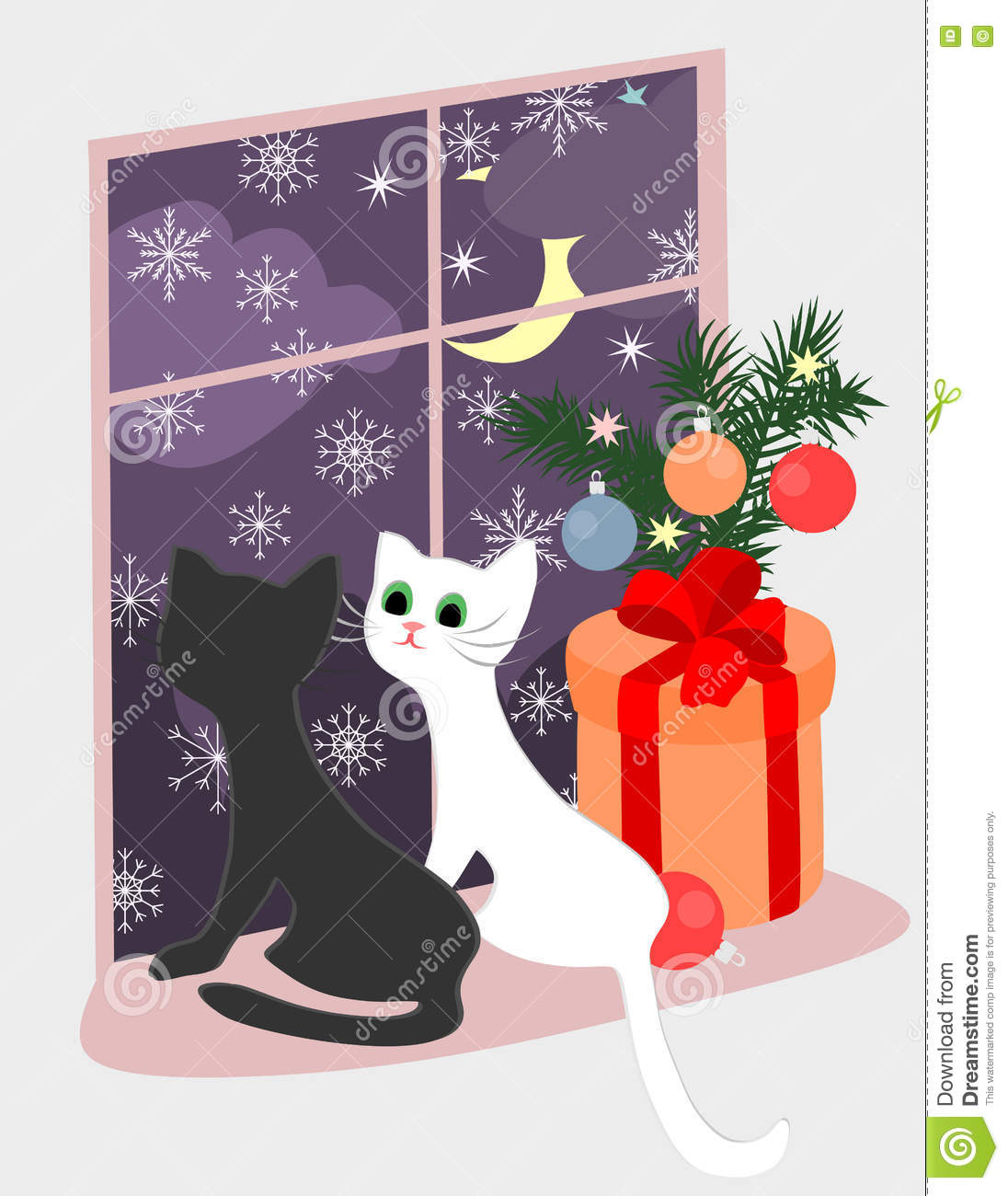 Christmas theme with kittens and the gift near the window.