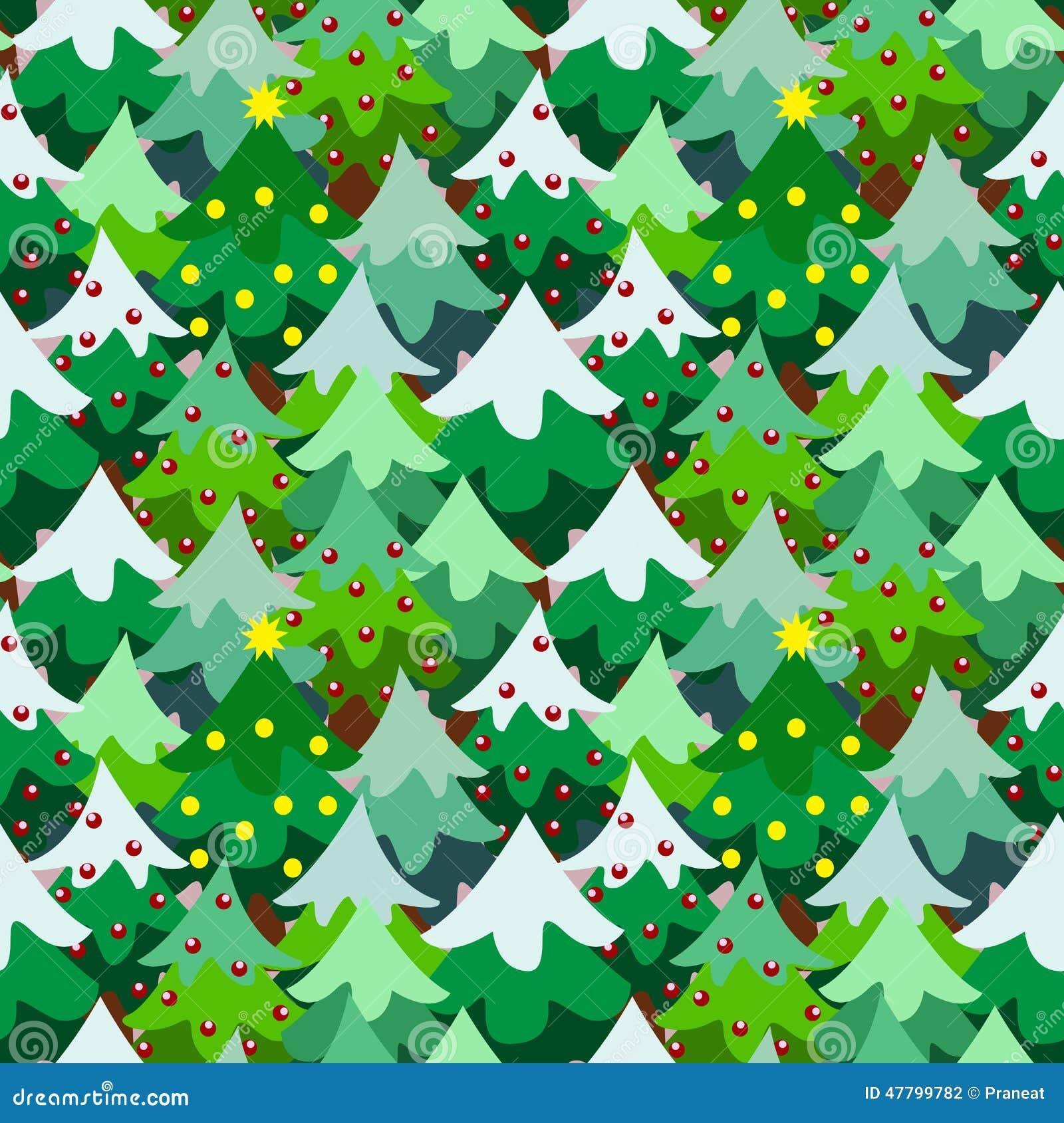 Christmas Theme Pine Tree Forest Seamless Pattern Stock