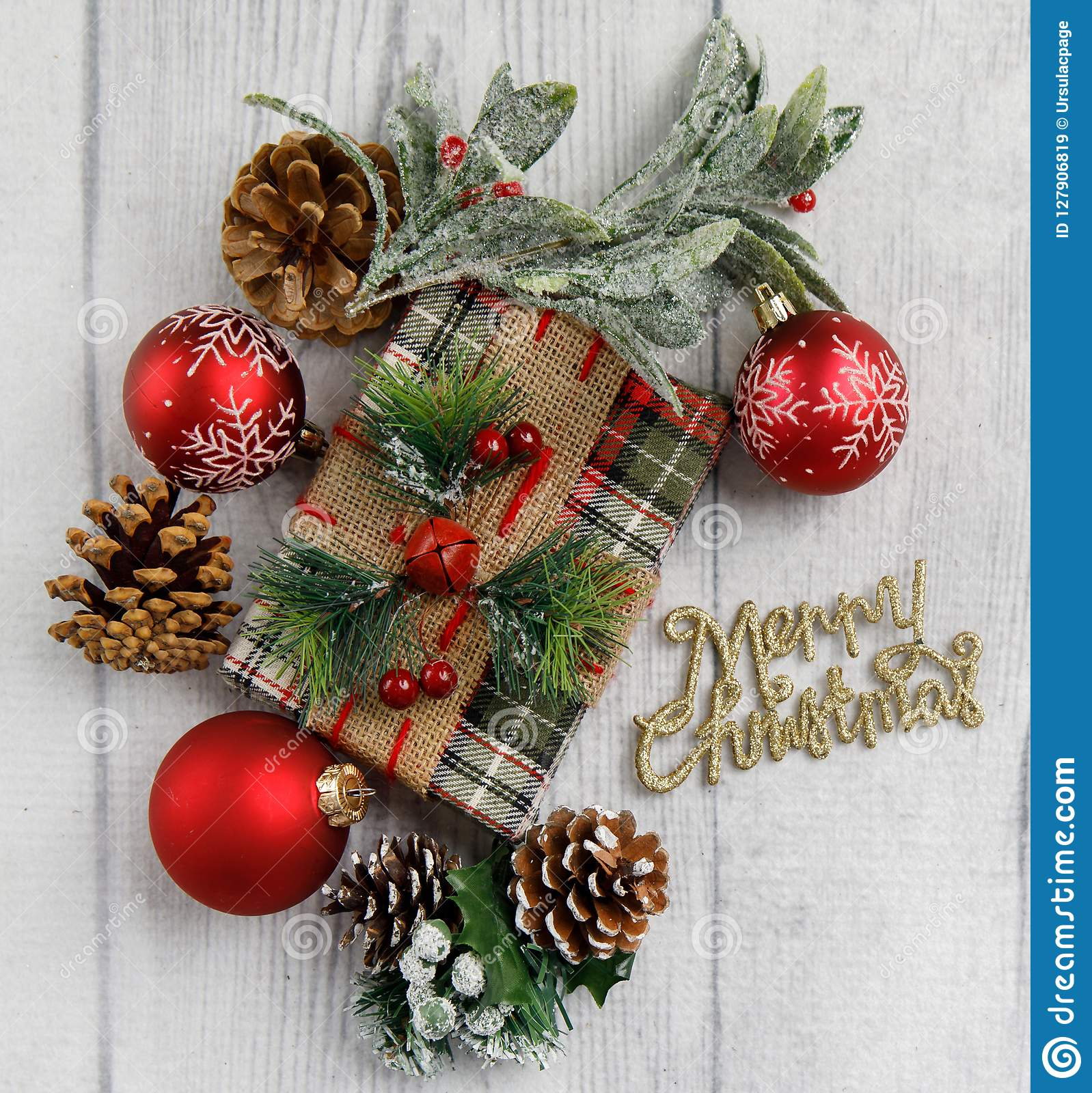 Christmas Theme On White Wood Background With Space For Text Stock Image Image Of Card Pine 127906819