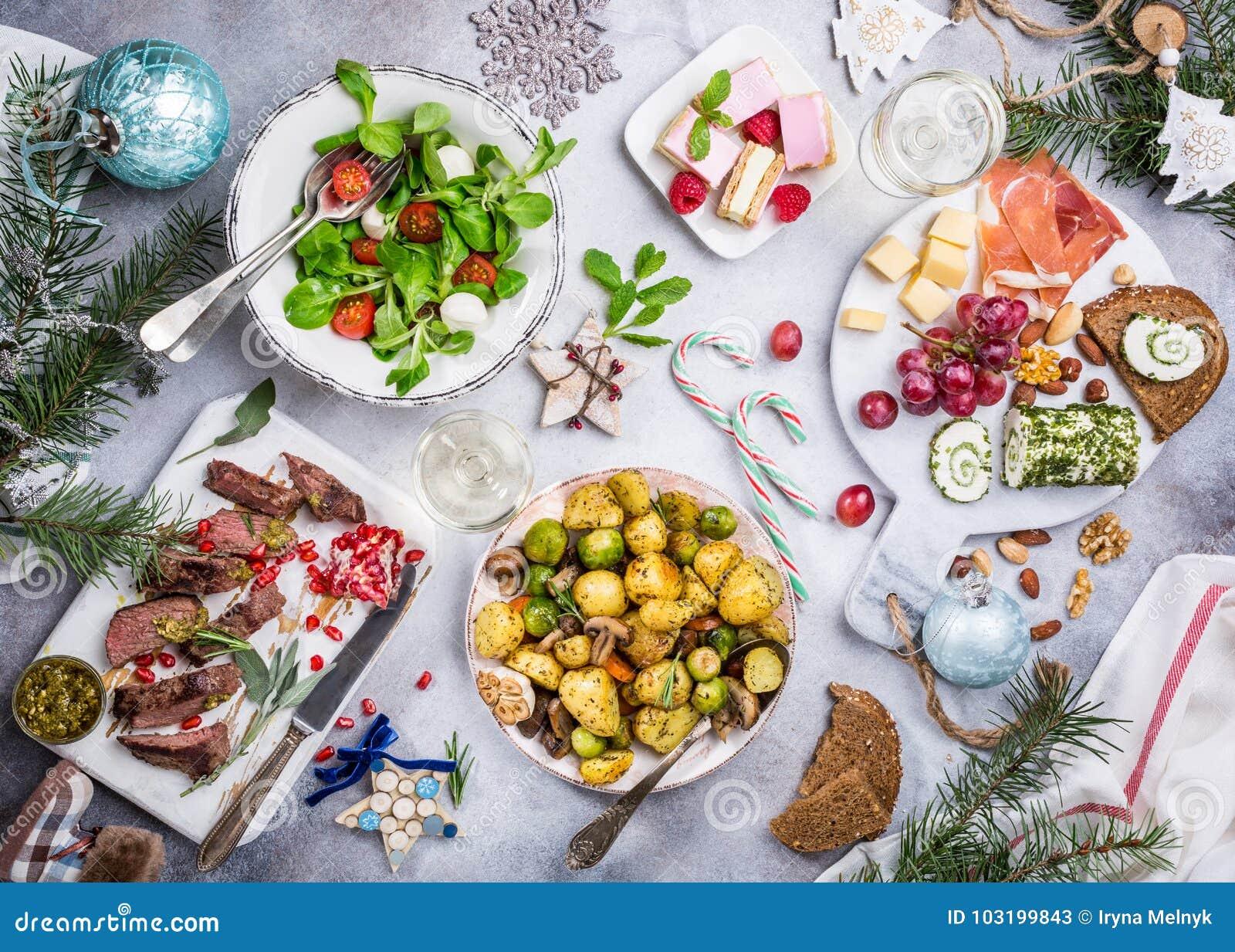 Christmas Themed Food.Christmas Themed Dinner Table Stock Image Image Of Gourmet