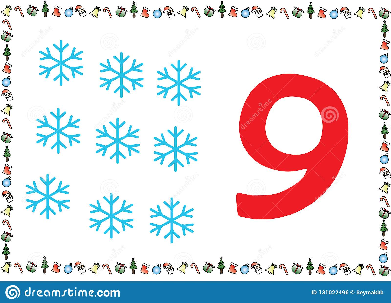 Christmas Themed Kids Number Series 9