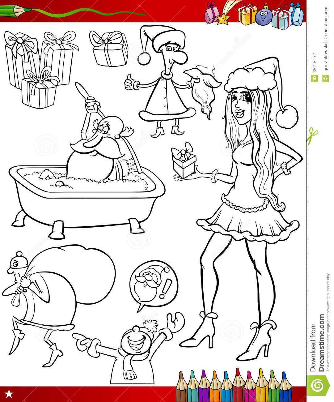 Christmas Themes Coloring Page Stock Vector - Illustration ...