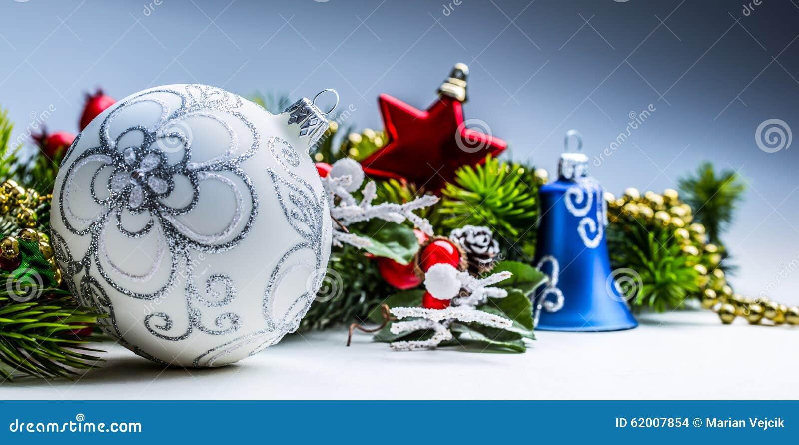 Christmas time christmas card with ball fir and decor on for Christmas time decorations