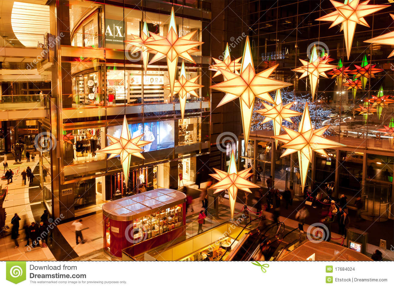 New York During Christmas Time.Christmas Time At Columbus Circle In New York Editorial