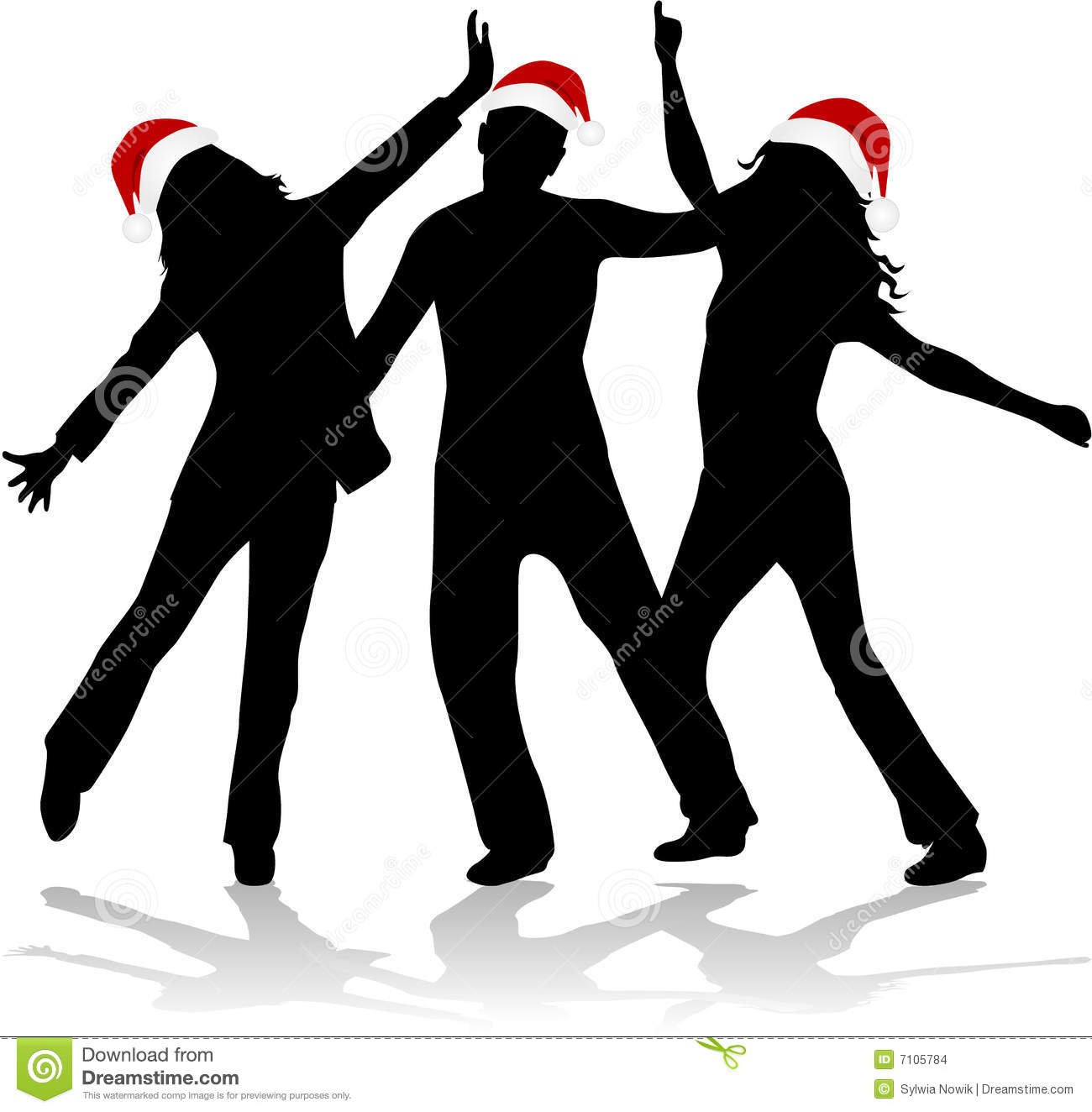 Christmas Time - Dancing Silhouettes Stock Images - Image: 7105784
