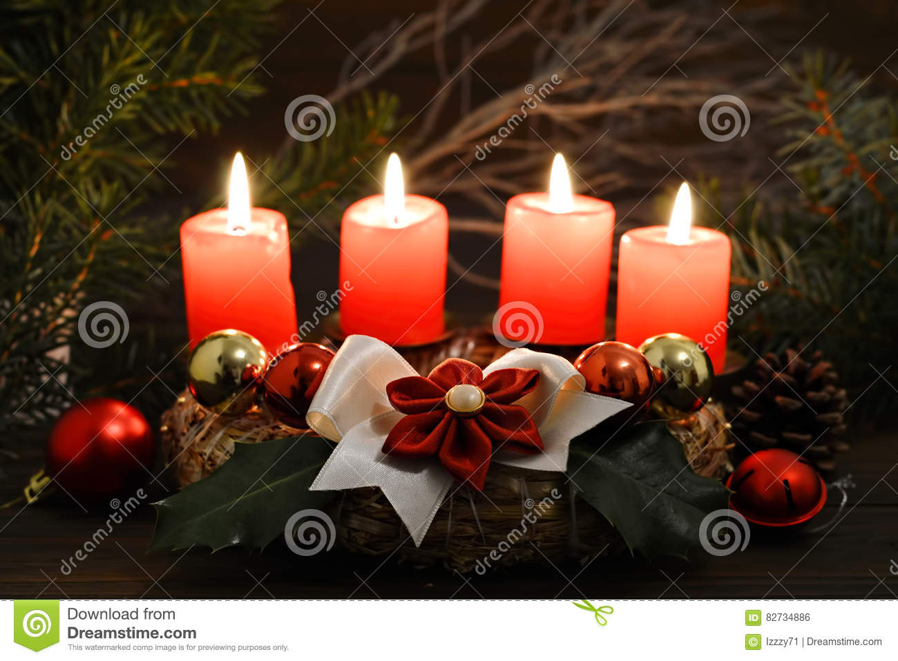 Christmas time: Four burning candles