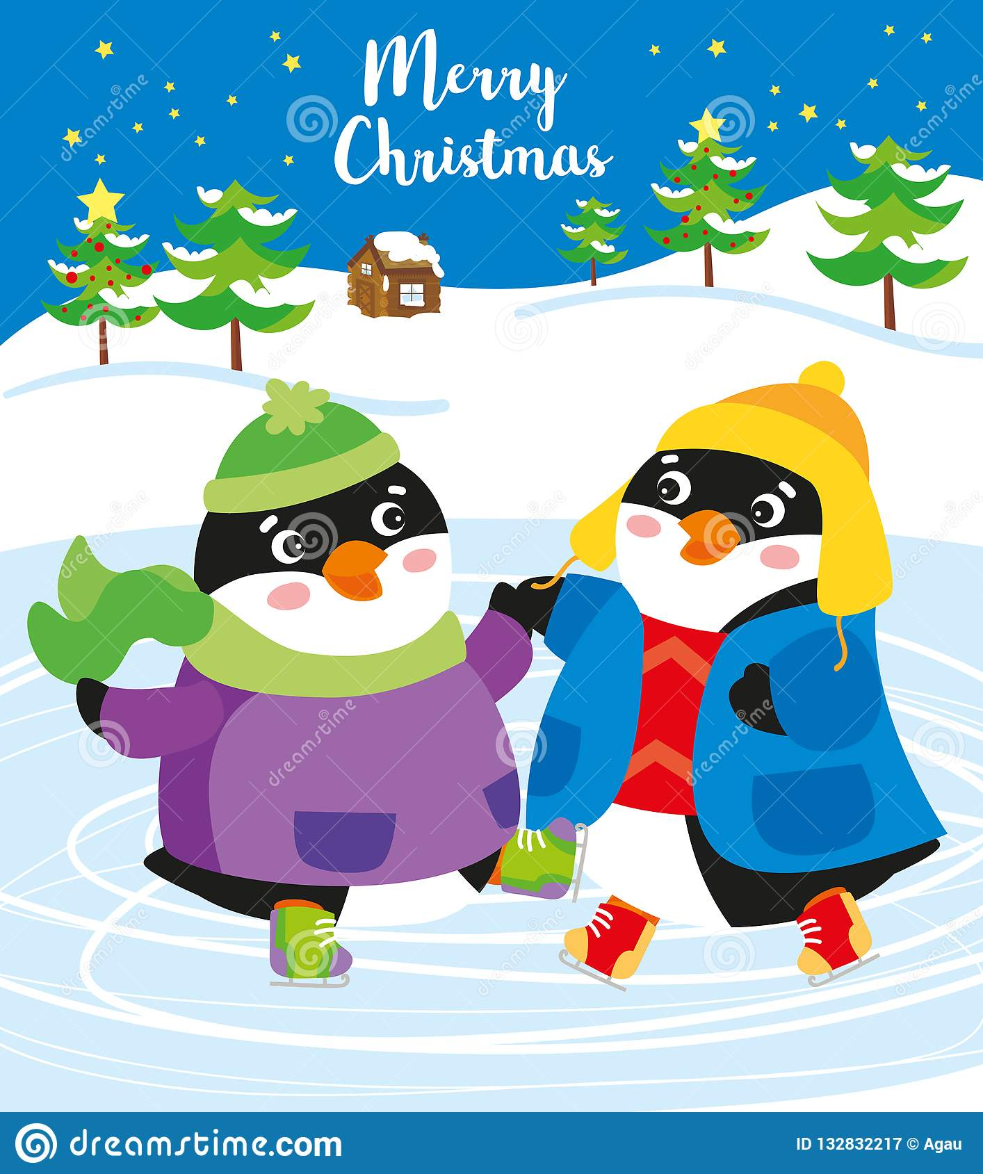 Christmas time: happy penguins on ice