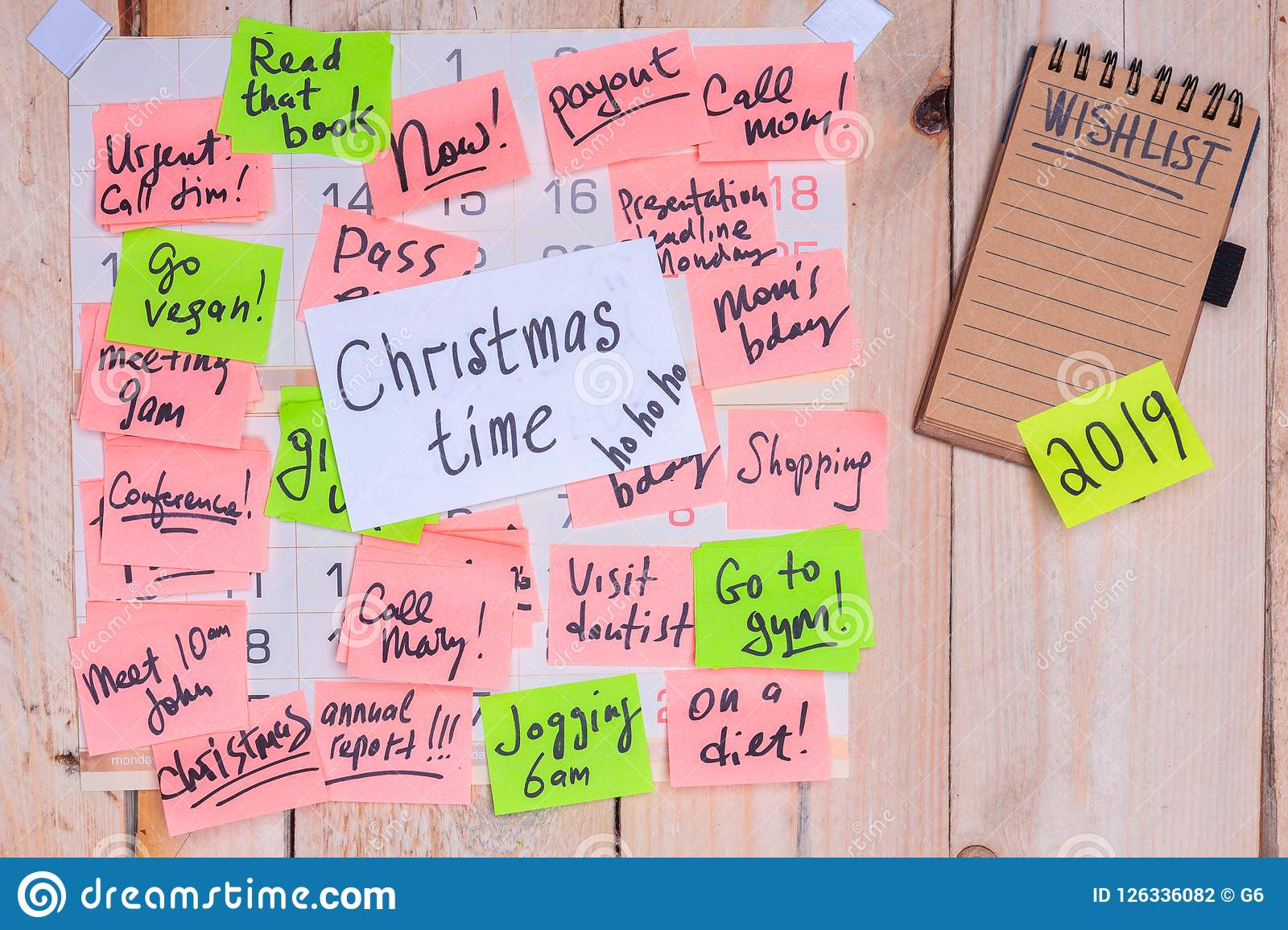 Christmas Wish List 2019.Christmas Time Reminder On Paper Note On Wall Calendar