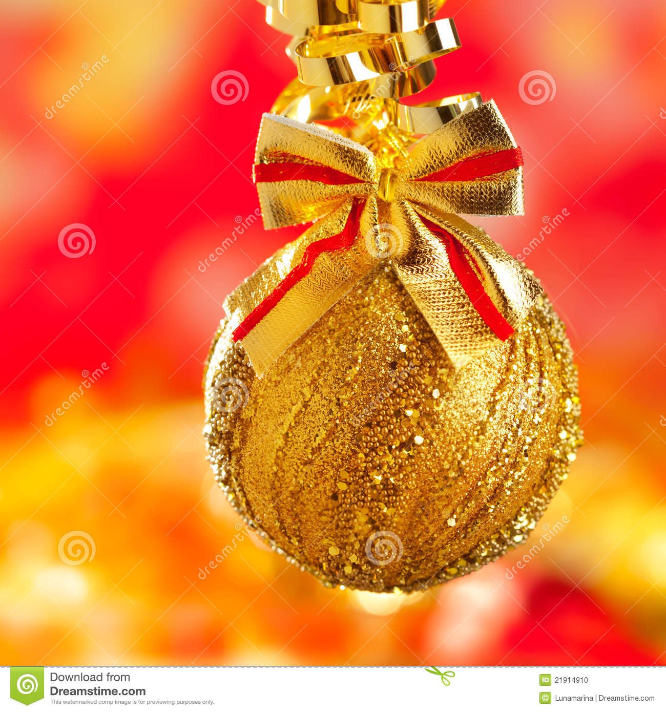 Christmas tinsel golden glitter bauble loop