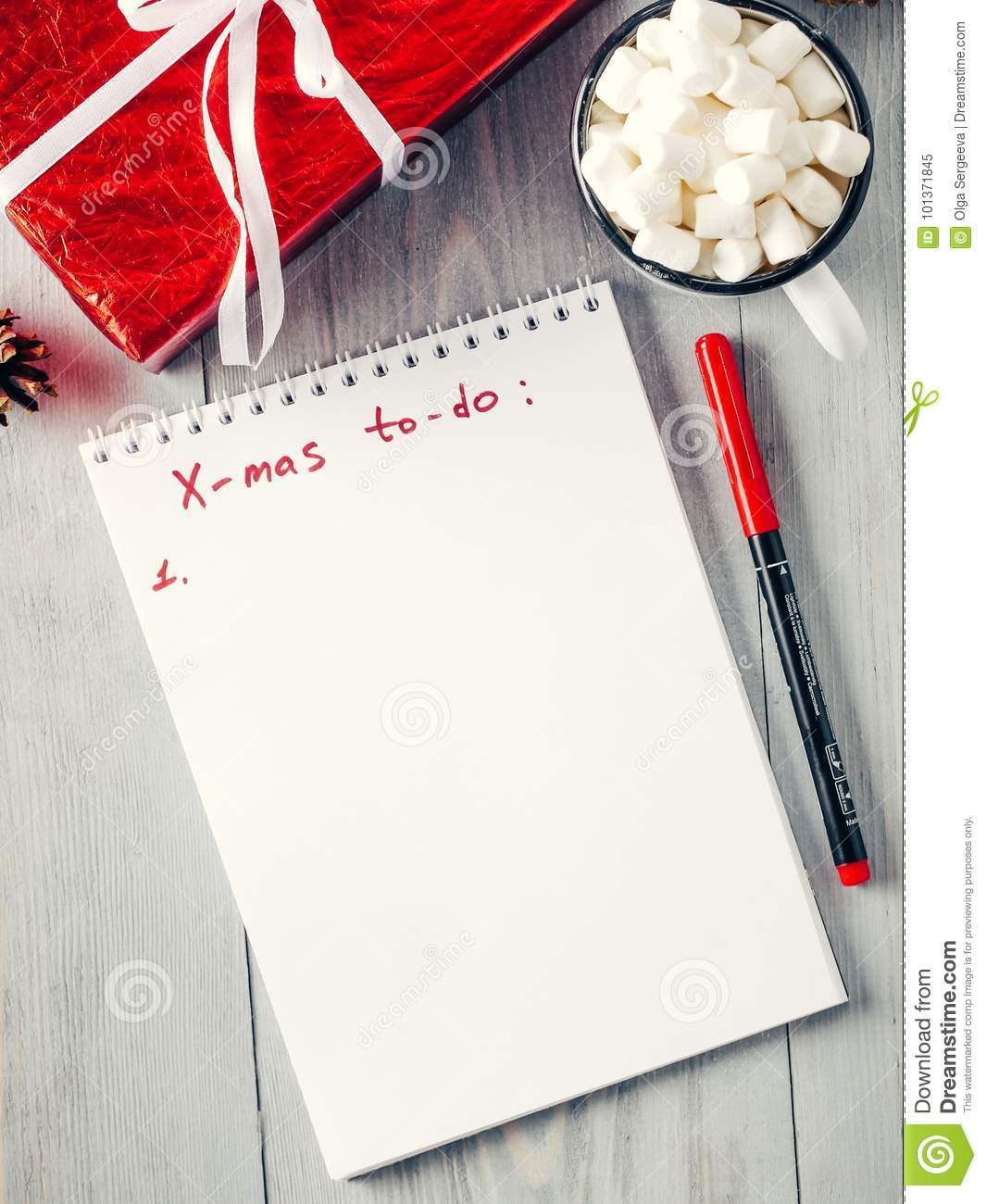 Christmas Gifts Shopping Planning List Stock Image - Image of blank ...
