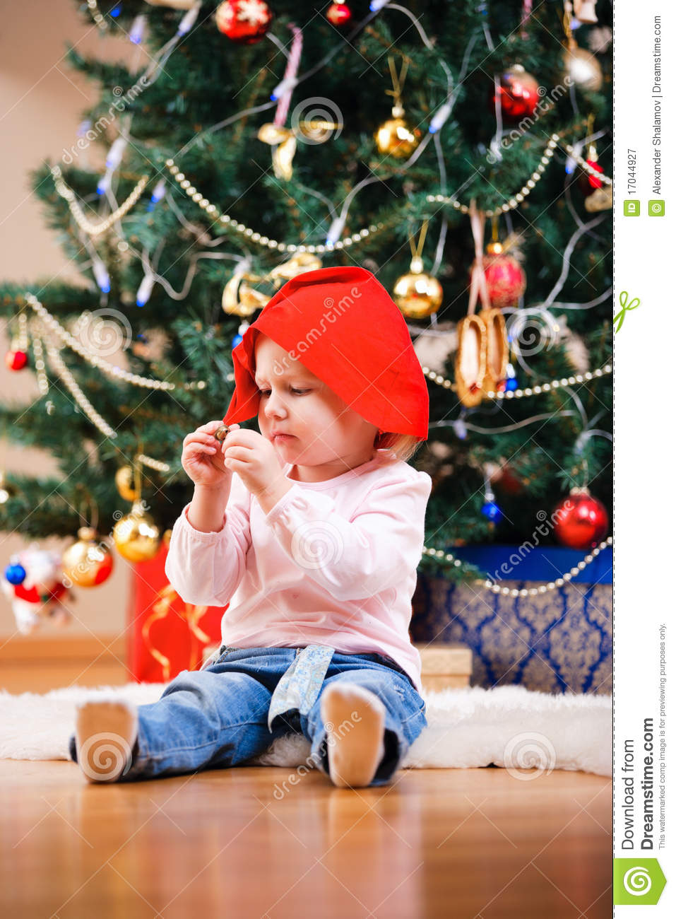 Christmas Toddler Girl Portrait Royalty Free Stock Photography ...