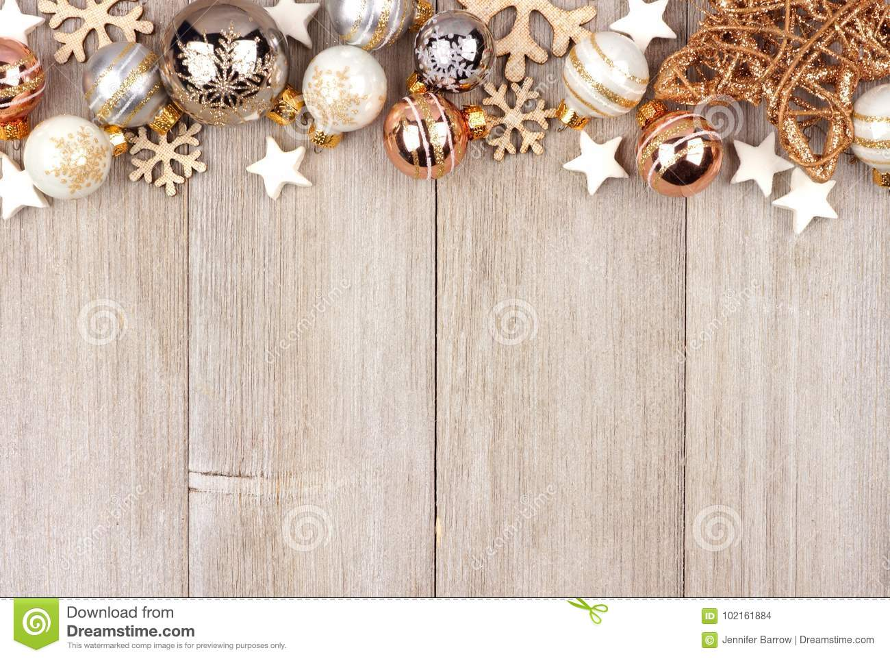 download white and gold christmas ornament top border on wood stock photo image of festive