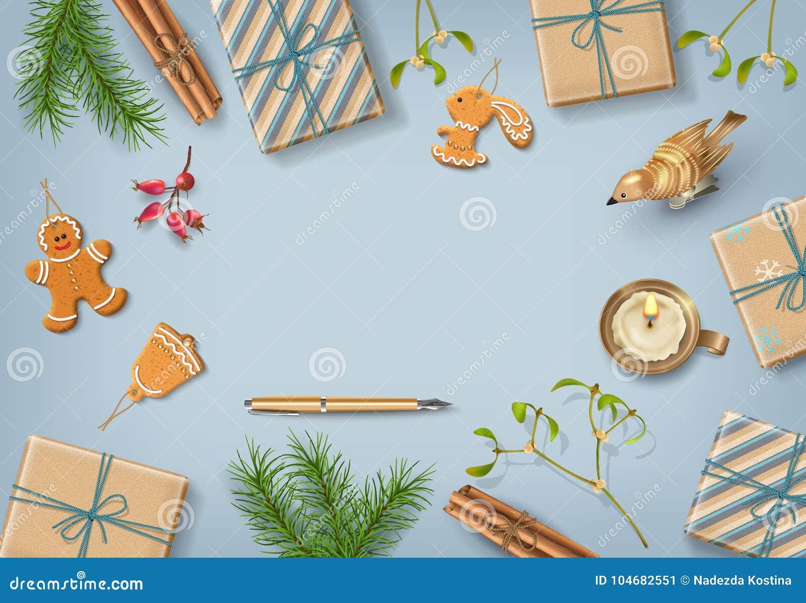 Christmas flat lay design