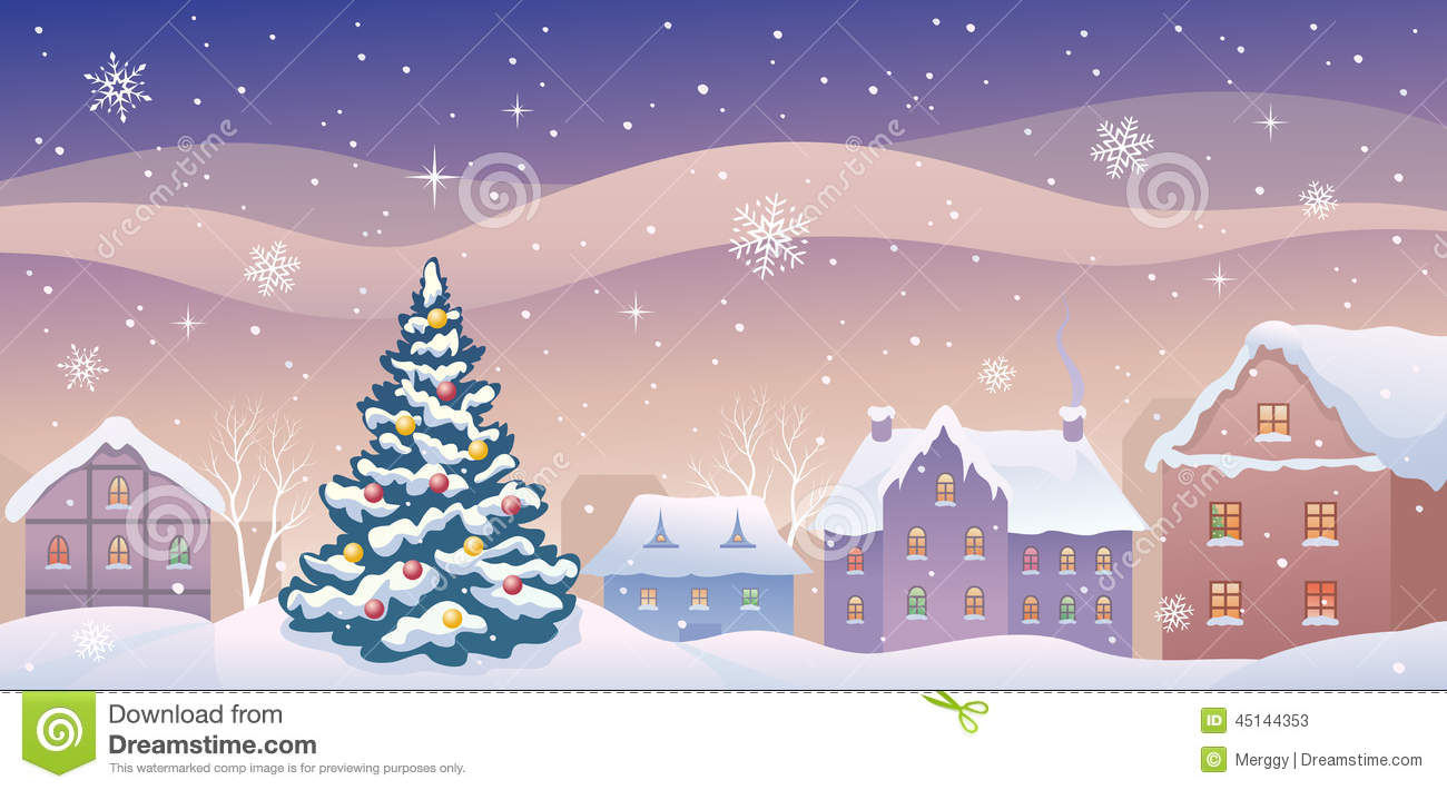 christmas town stock vector image of apartment drawing