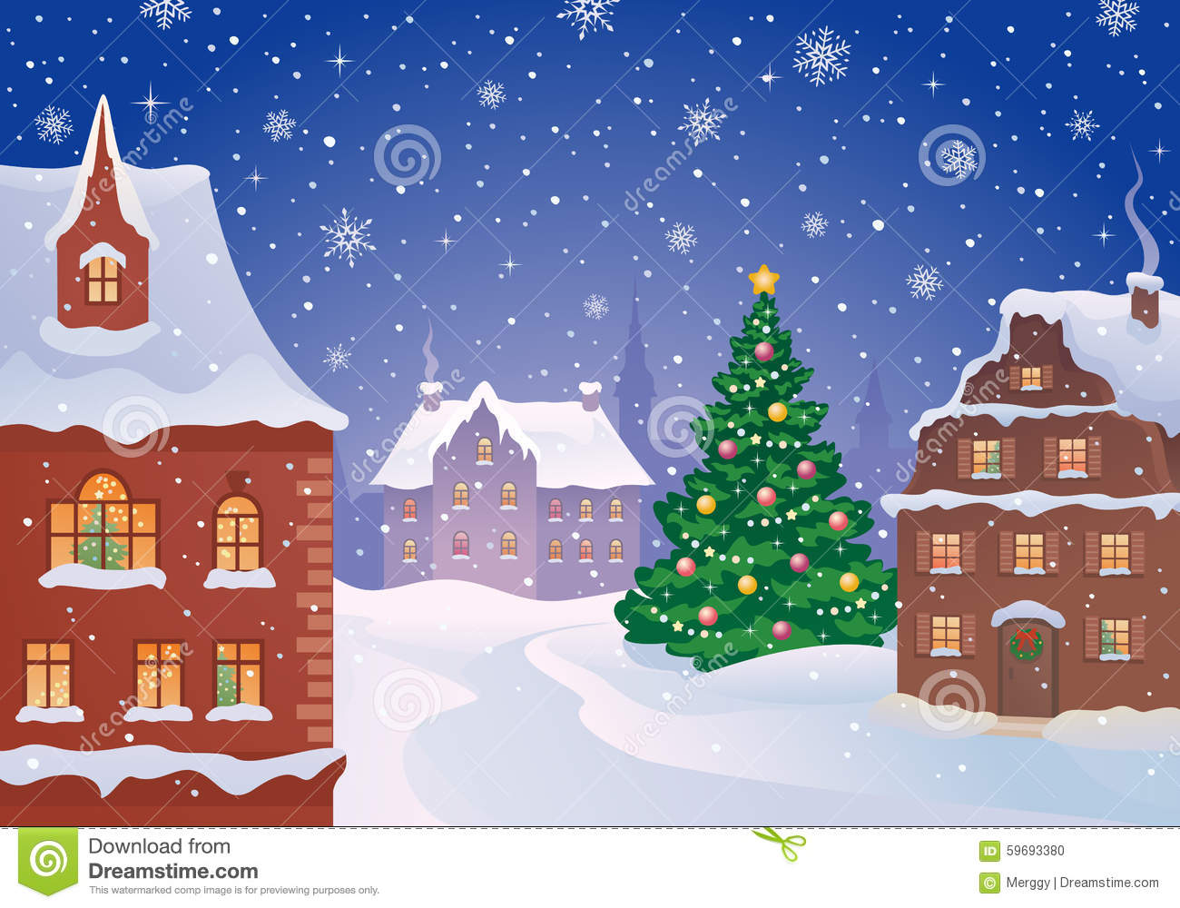 christmas town stock vector image 59693380