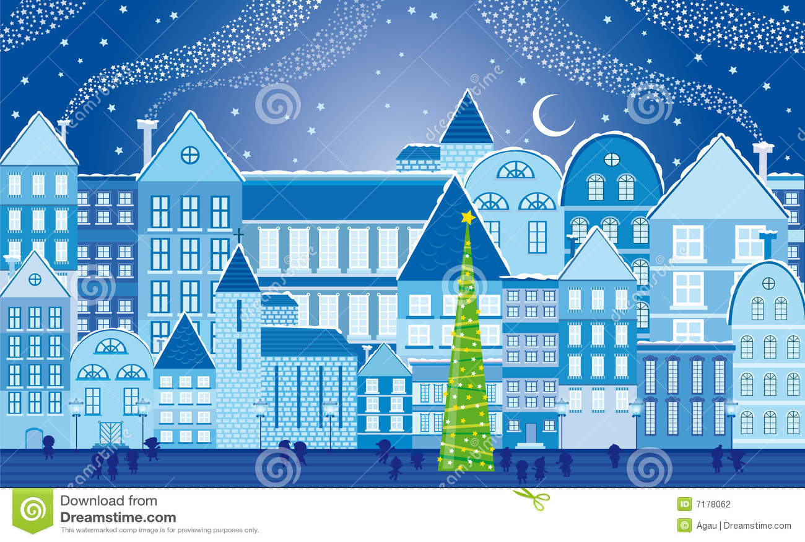 Christmas town at night