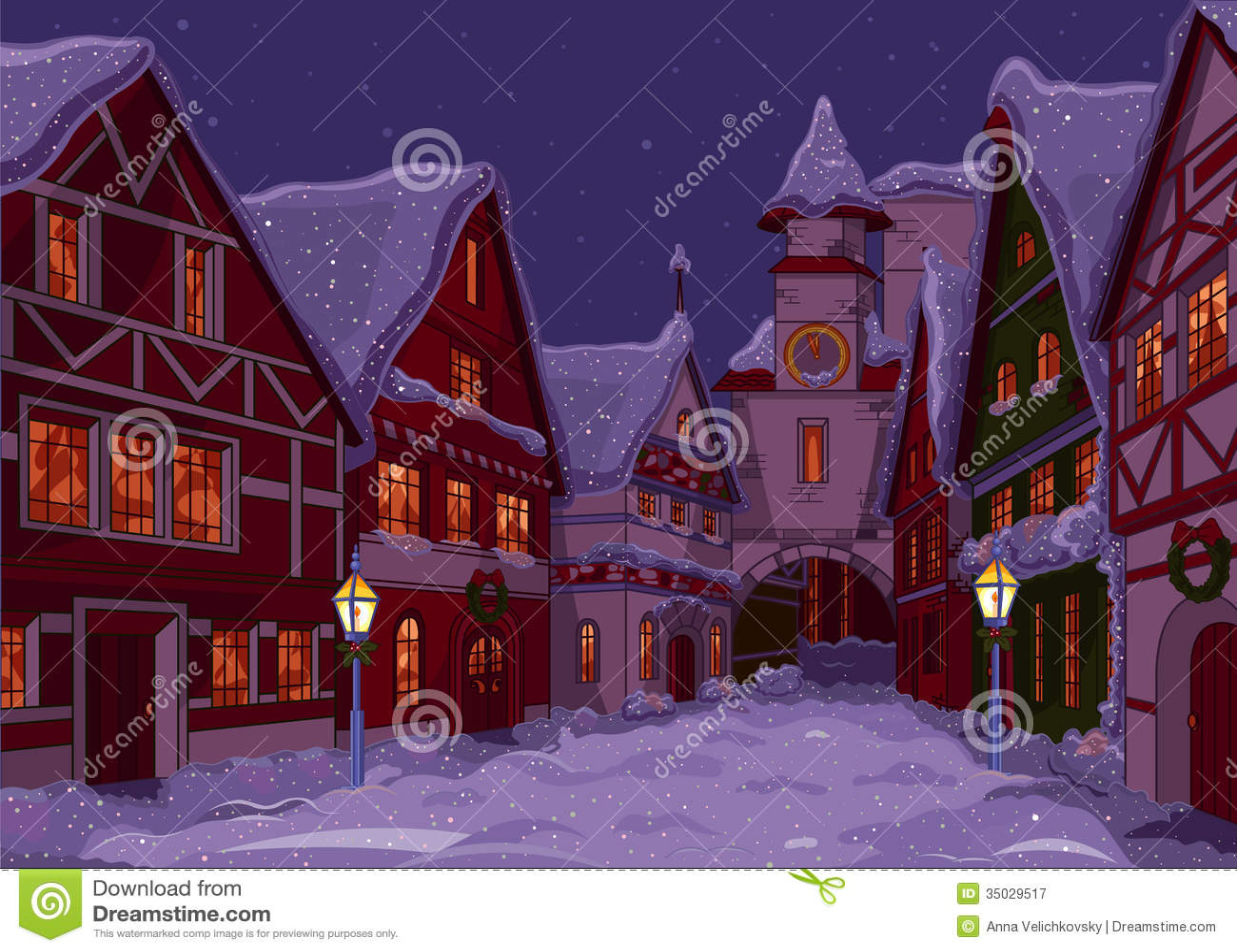Christmas town stock vector image of cartoon artworks