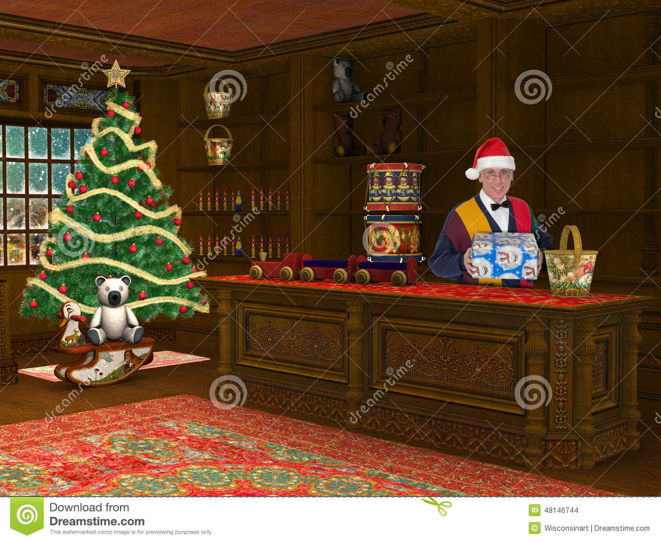 Christmas Toy Store Shop Sale Stock Photo