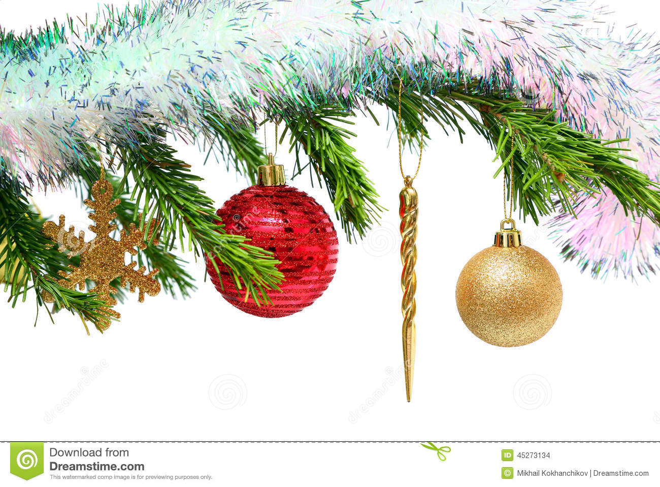 Christmas Toys On Fir Tree Twig Over White Stock Photo