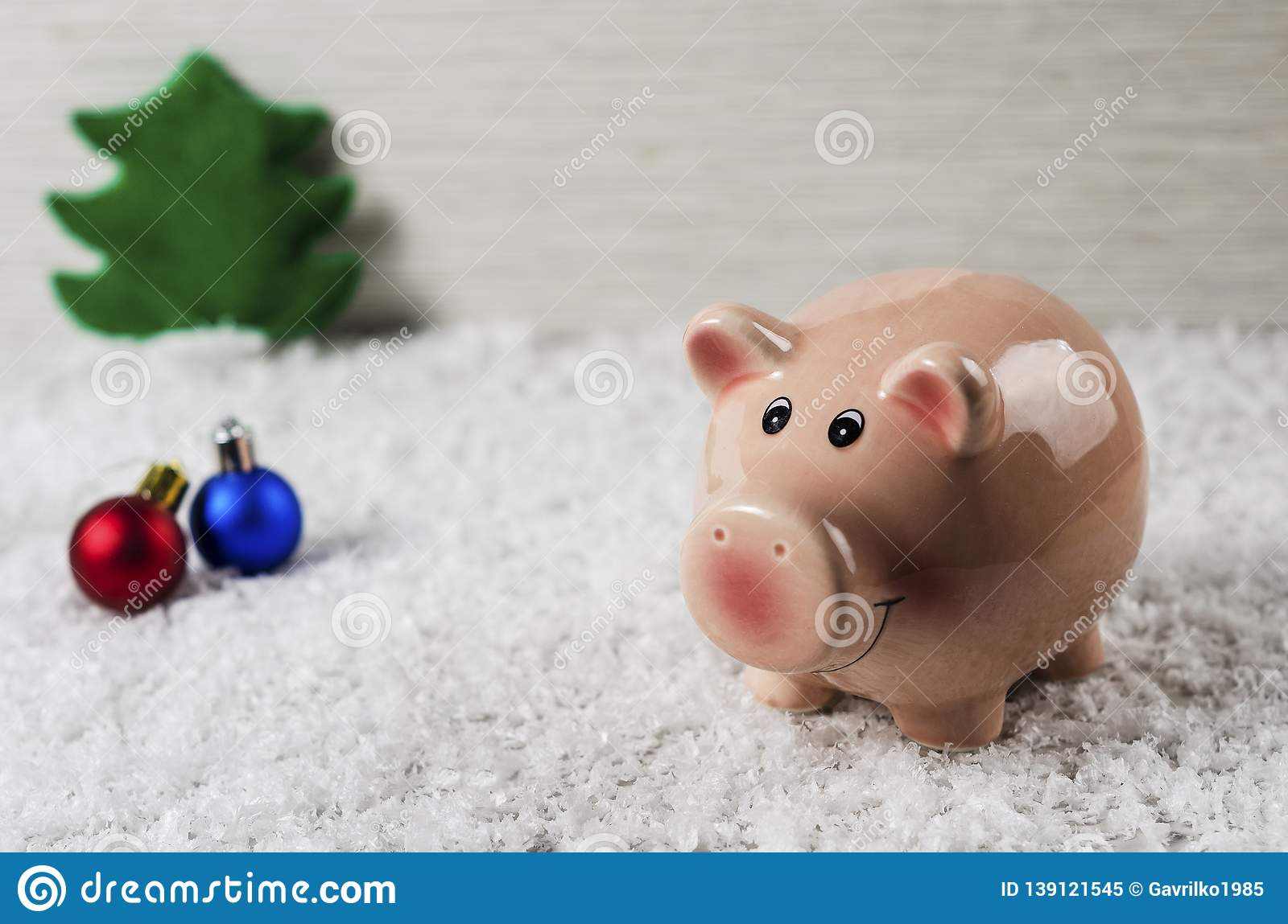 Christmas toys pig symbol of the new year on the background of snow 4