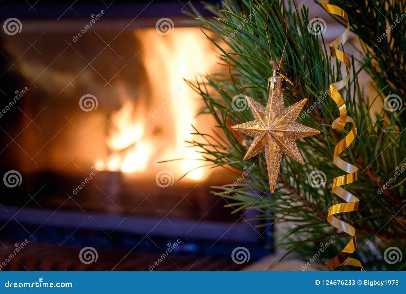 Burning Christmas Tree.Christmas Toys On The Christmas Tree Near The Burning