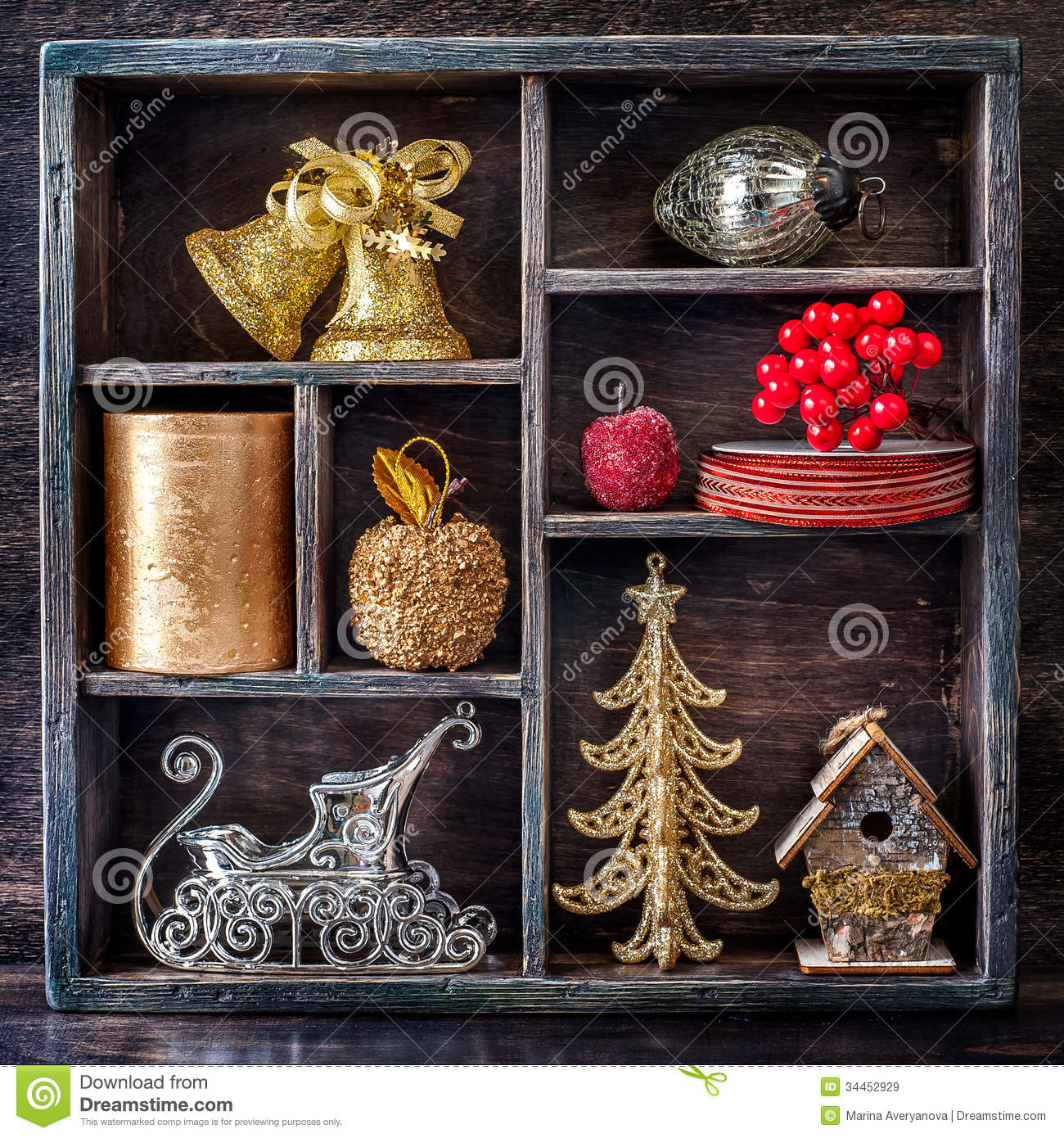Christmas toys in a vintage wooden tray royalty free stock