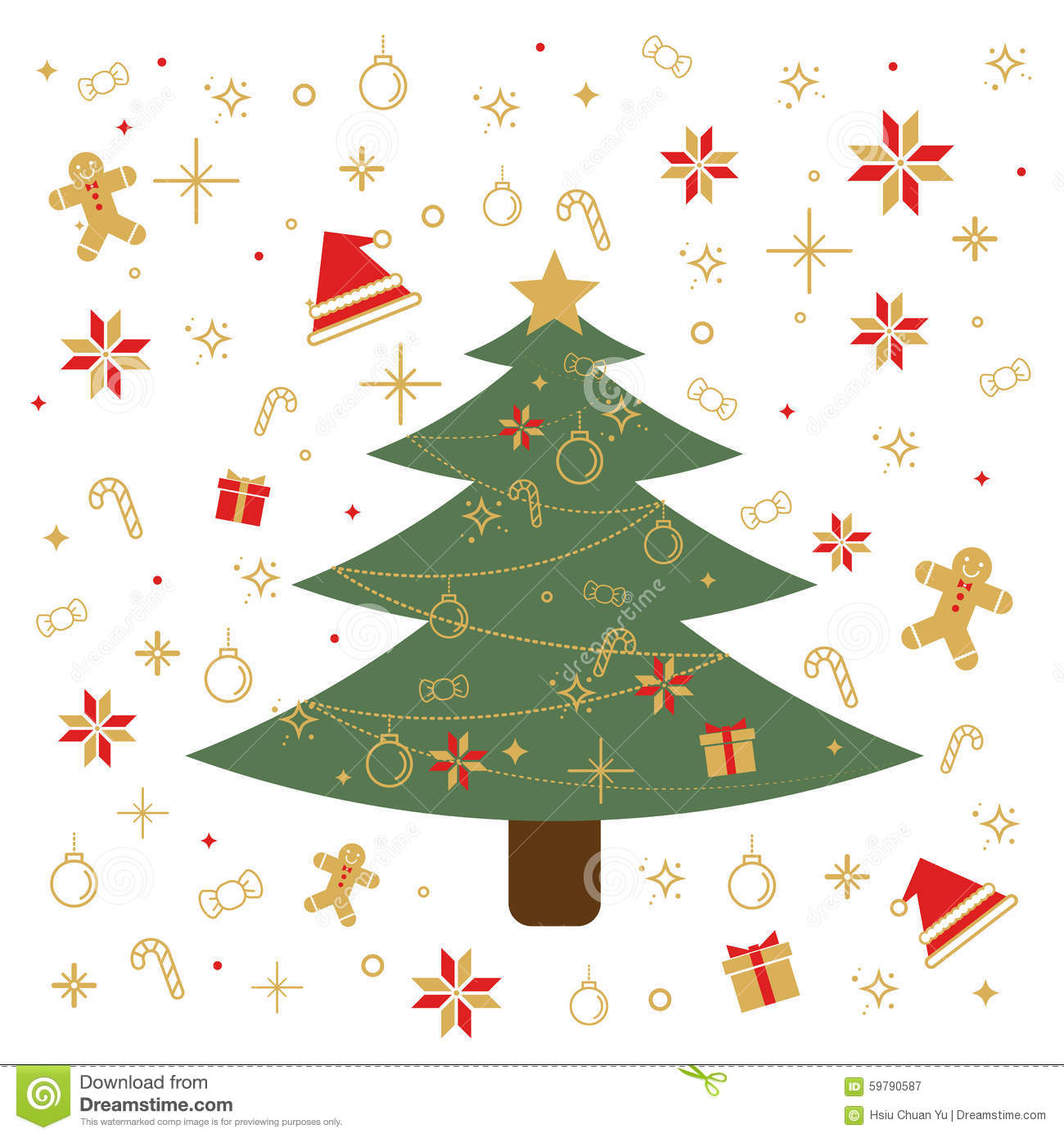 Christmas Traditional Celebrating Decoration Items. Stock Vector ...