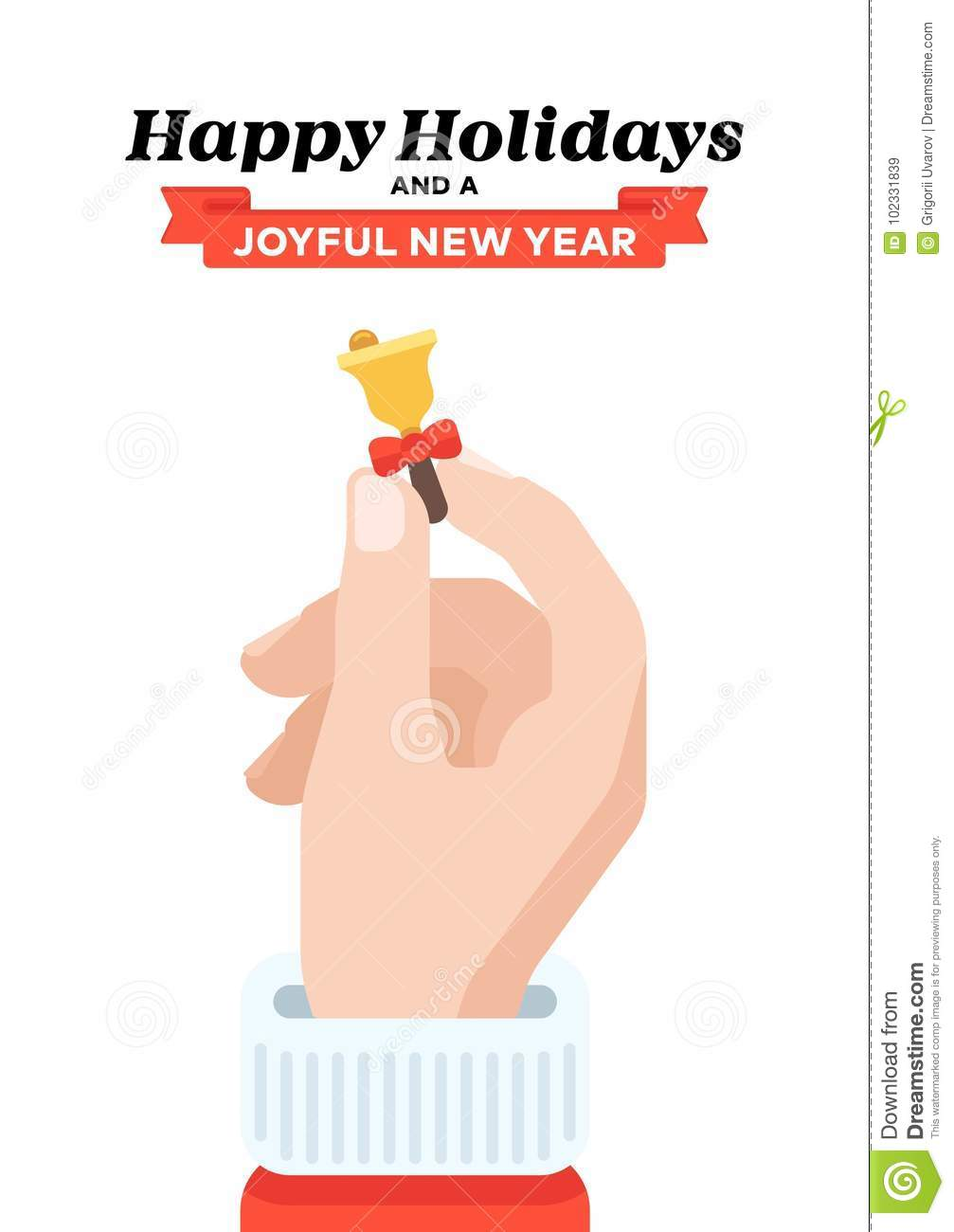 Christmas Card With Santa`s Hand Holding Bell. Flat Design Stock ...