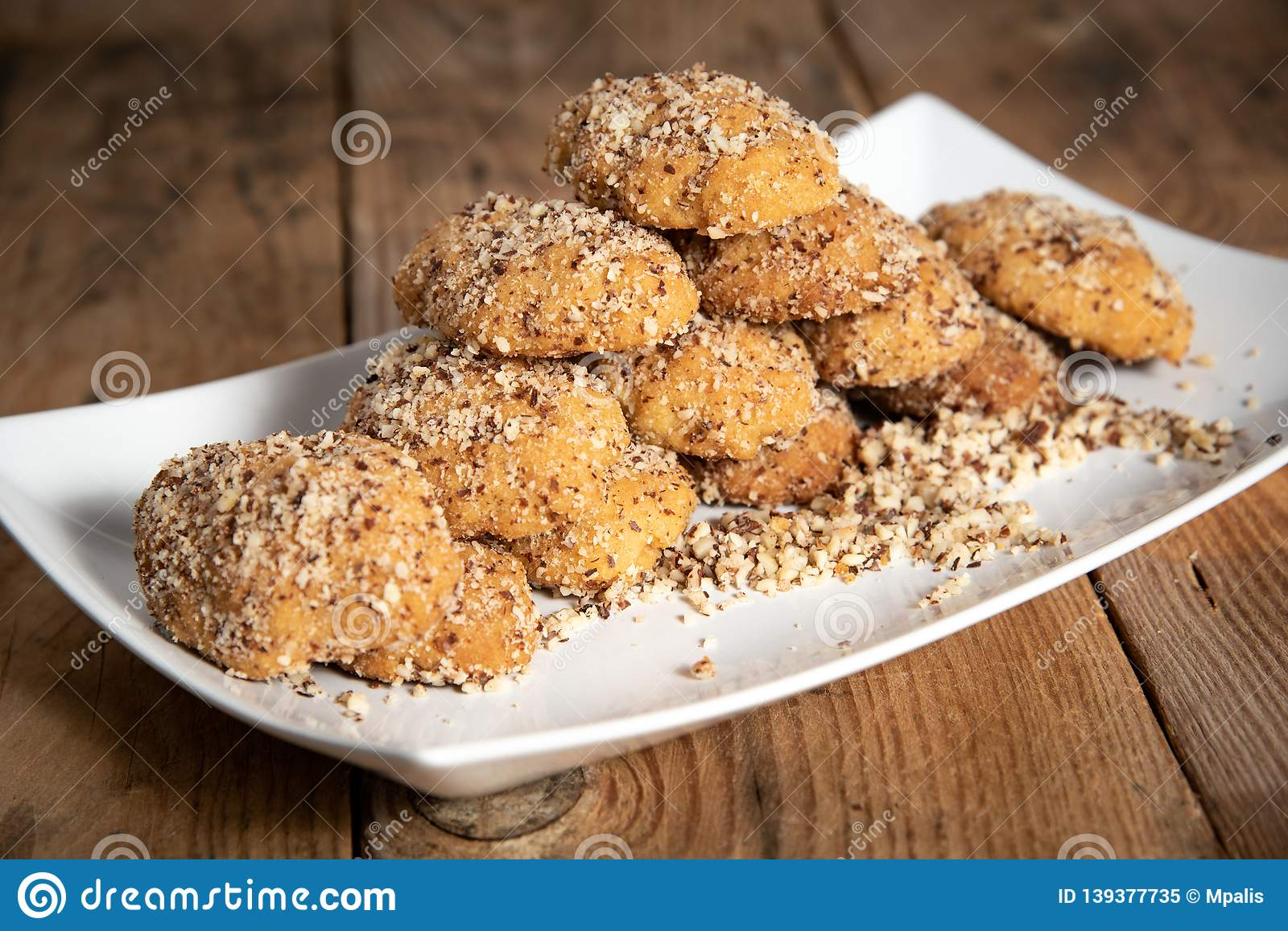 Traditional Greek Honey Cookies With Nuts Called Melomakarouna Stock