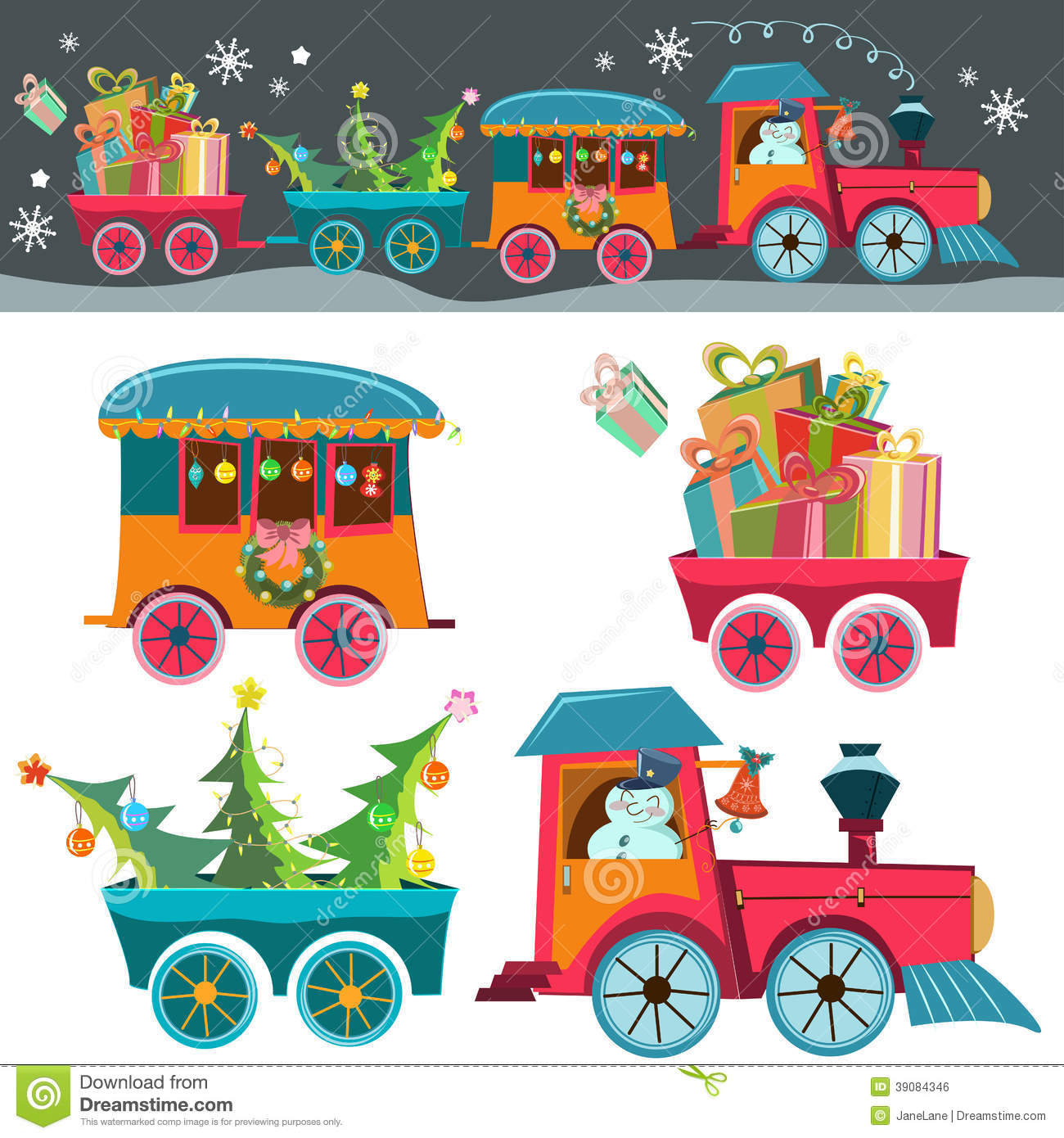 Christmas Toys Cartoon : Christmas train stock vector illustration of present