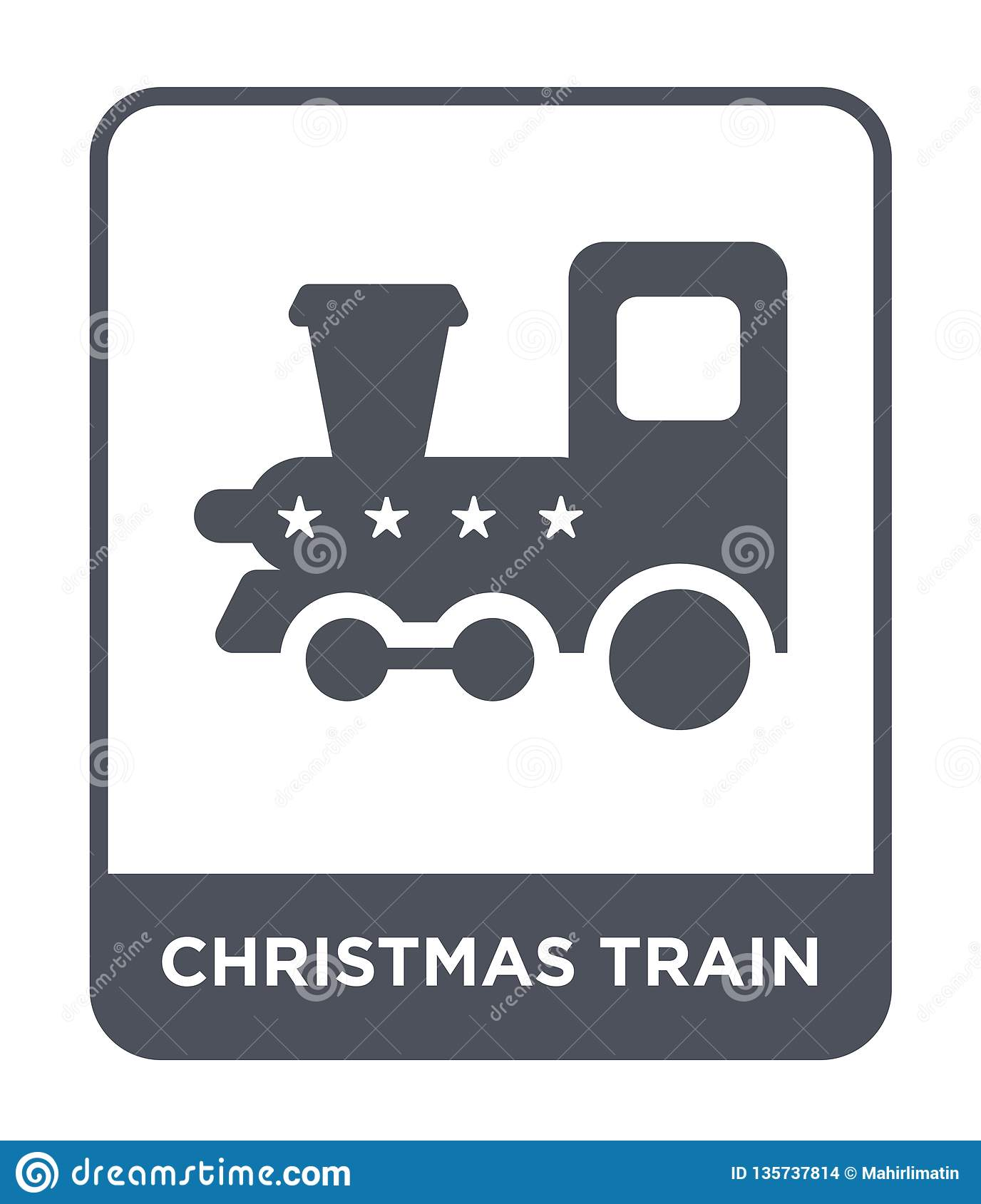 christmas train icon in trendy design style. christmas train icon isolated on white background. christmas train vector icon simple