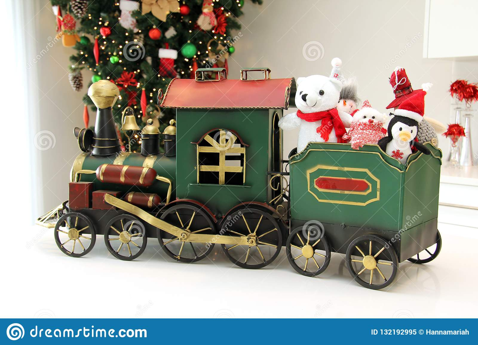 Christmas train ornament with stuffed animals