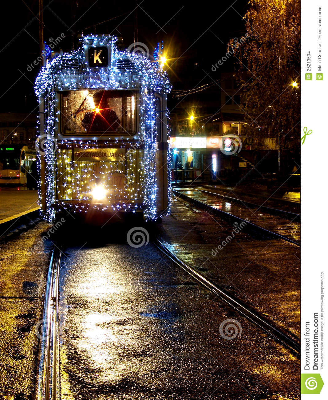 Tram with Christmas lights in Budapest