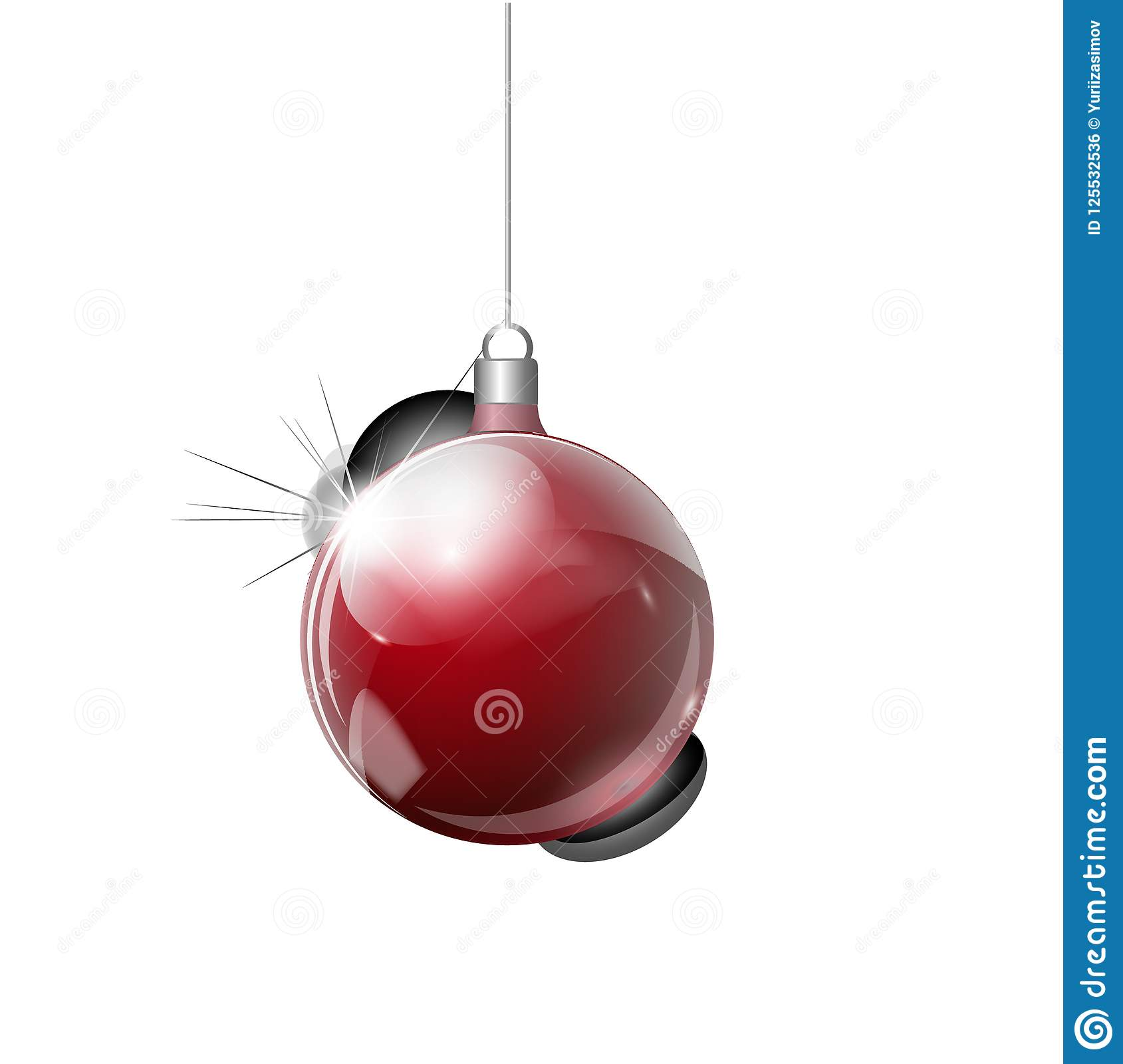Vector Christmas Fir Tree And Realistic Transparent Silver Christmas