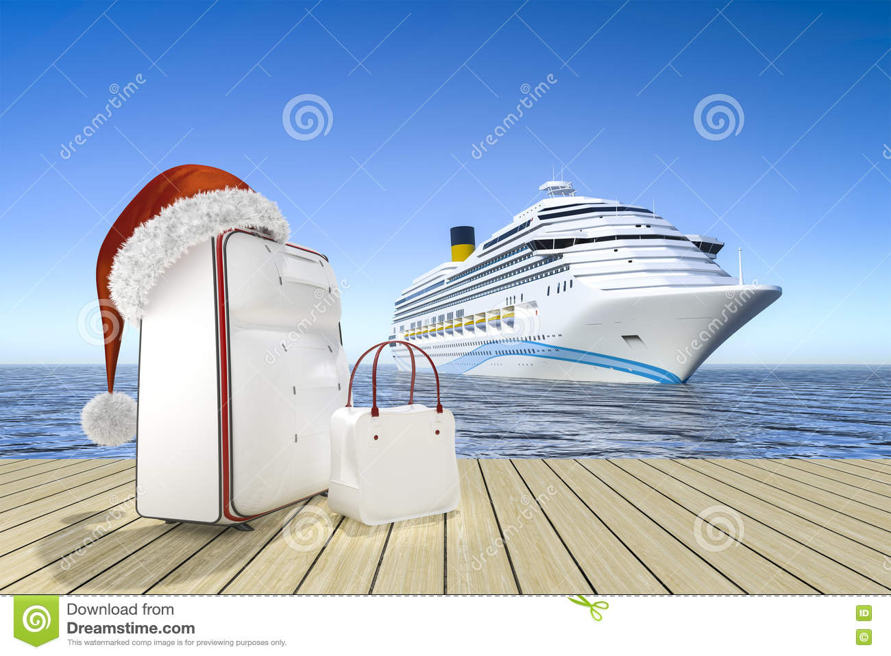 Christmas Travel Cruise Ship Stock Illustration  Image