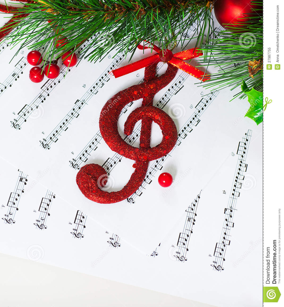 Image of red festive treble clef on the notes paper, Christmastime ...